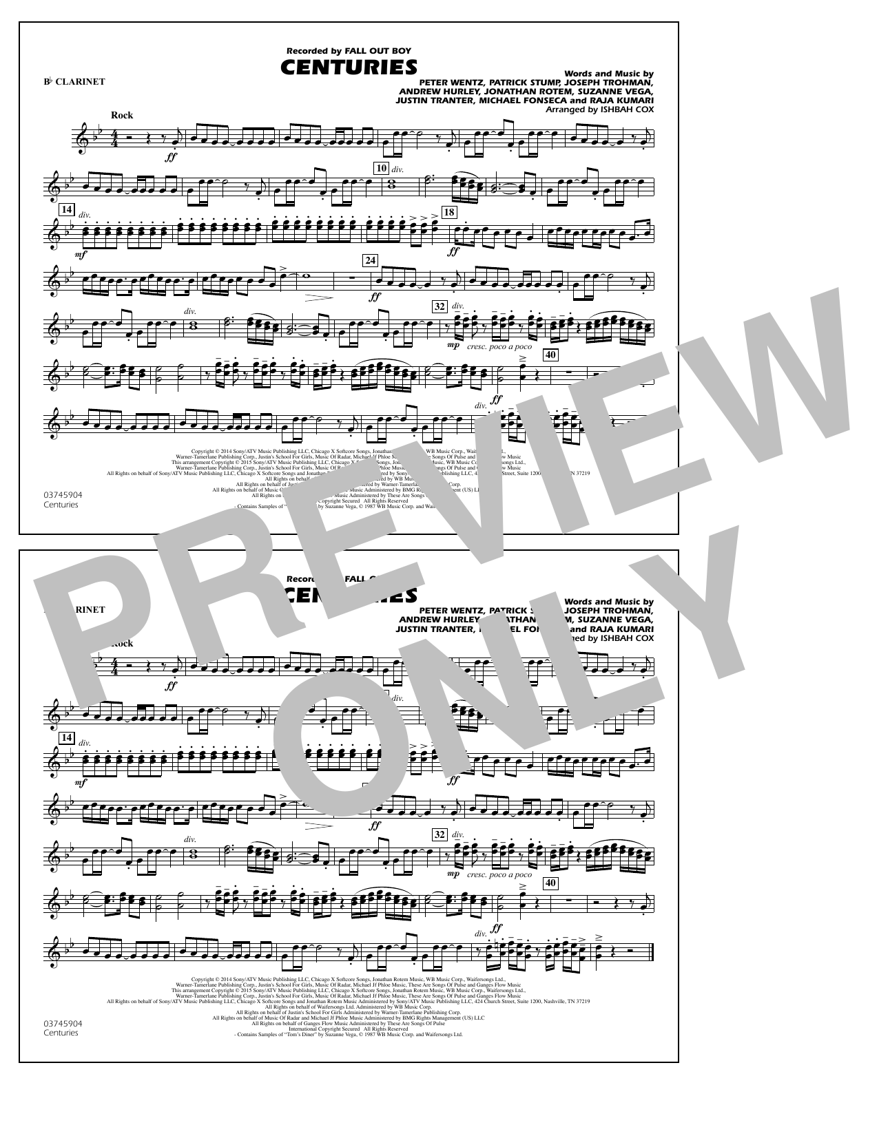 Centuries - Bb Clarinet (Marching Band)