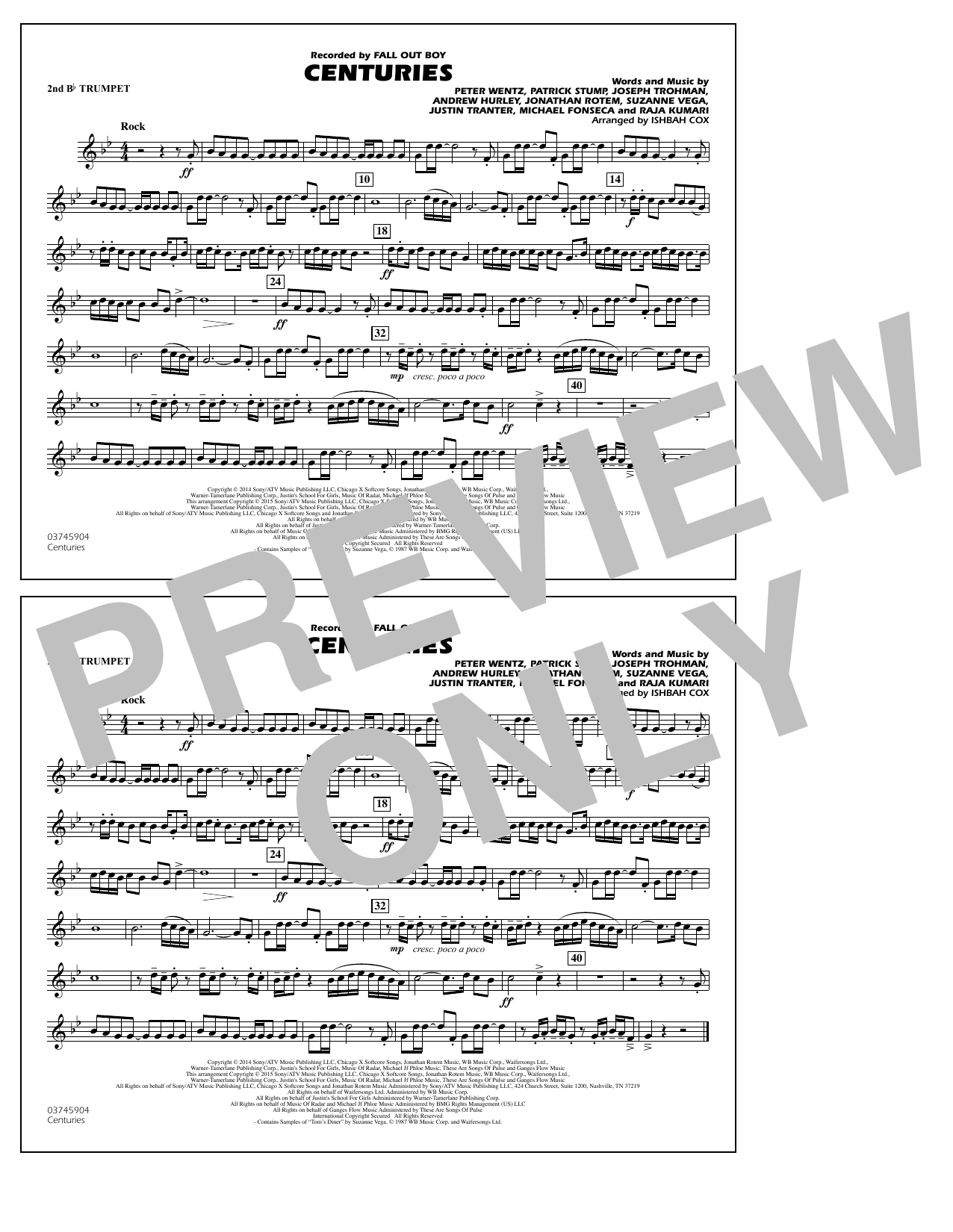 Centuries - 2nd Bb Trumpet (Marching Band)