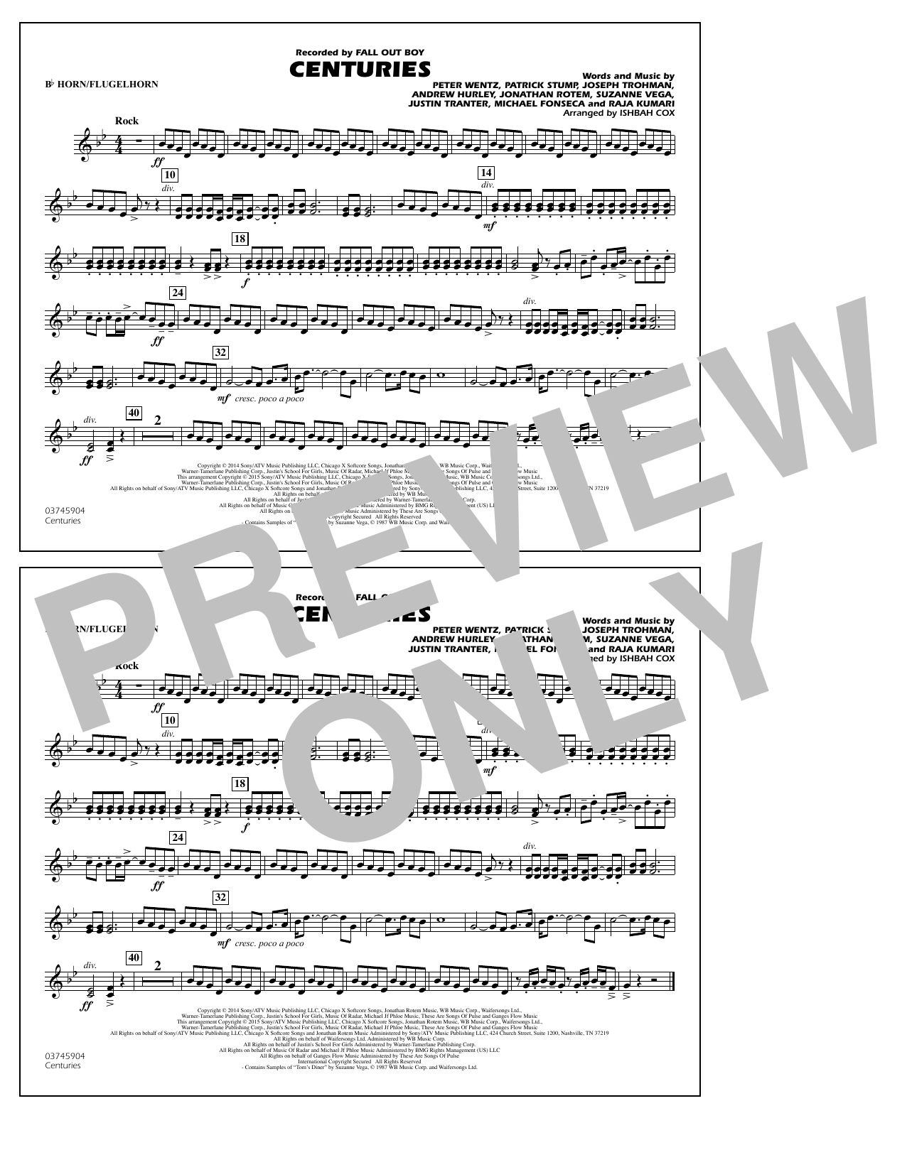 Centuries - Bb Horn/Flugelhorn (Marching Band)