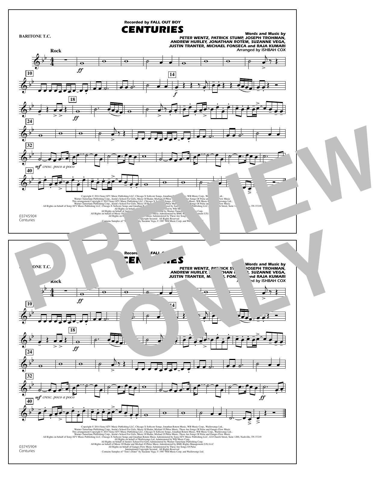 Centuries - Baritone T.C. (Marching Band)