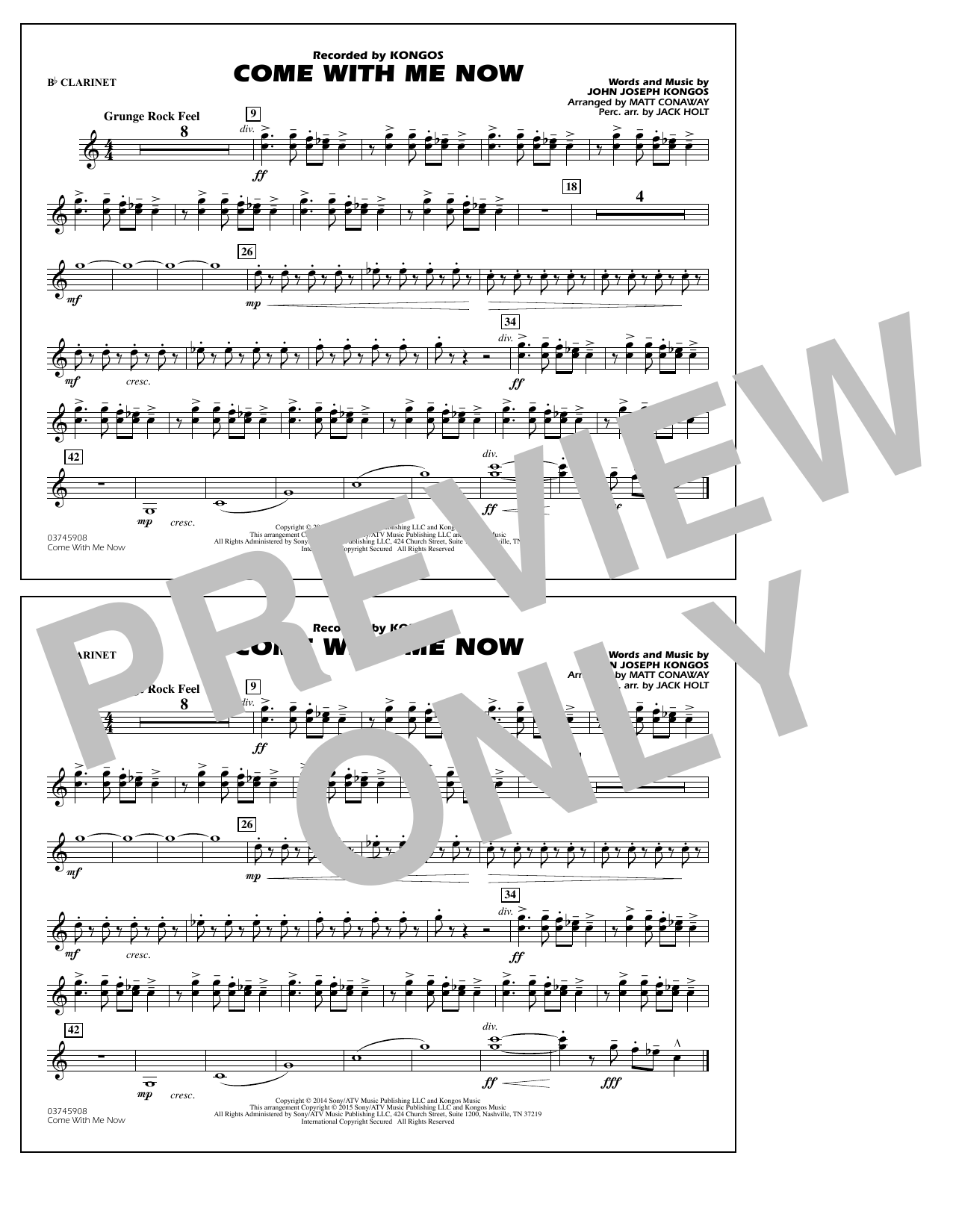 Come with Me Now - Bb Clarinet (Marching Band)