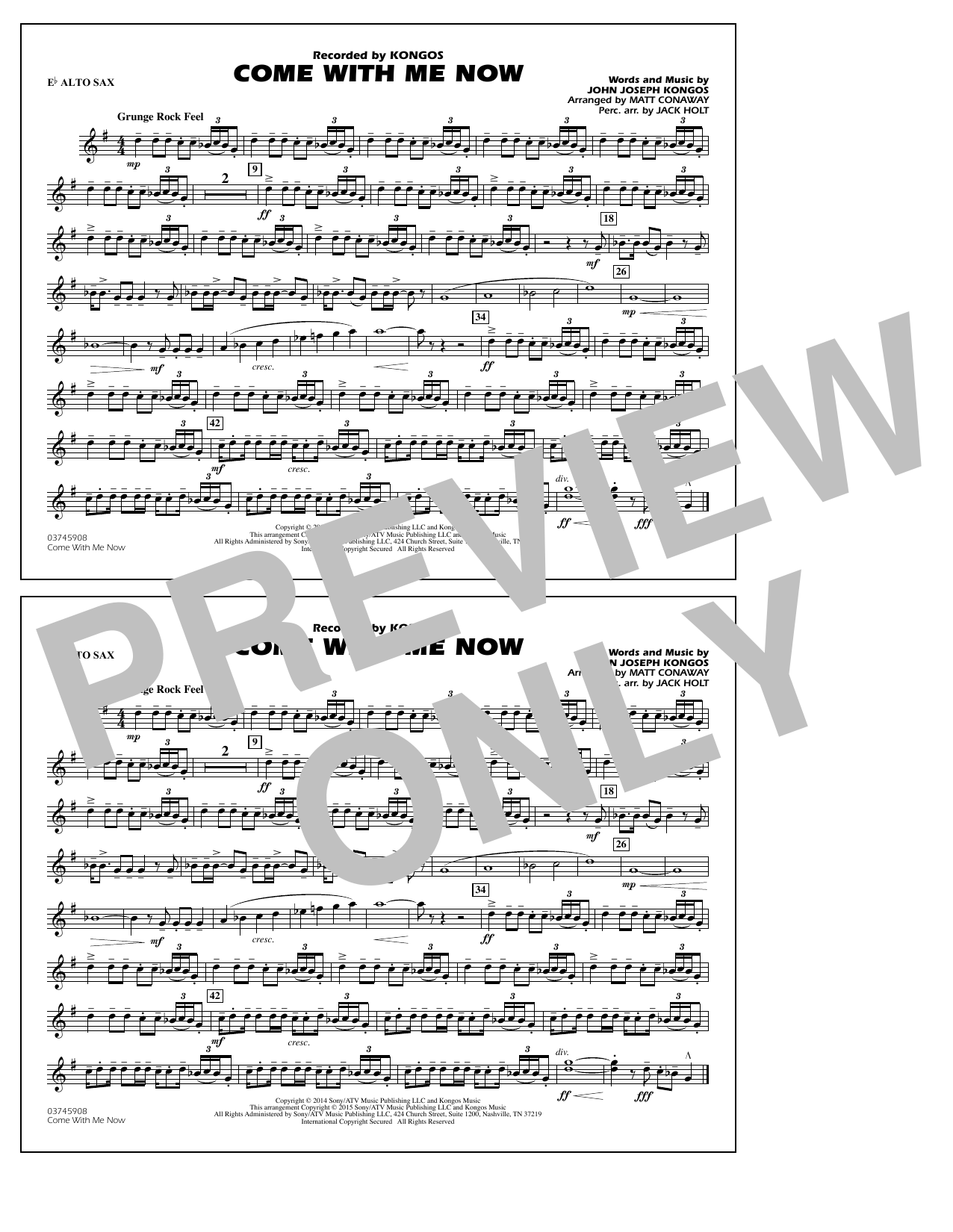 Come with Me Now - Eb Alto Sax (Marching Band)