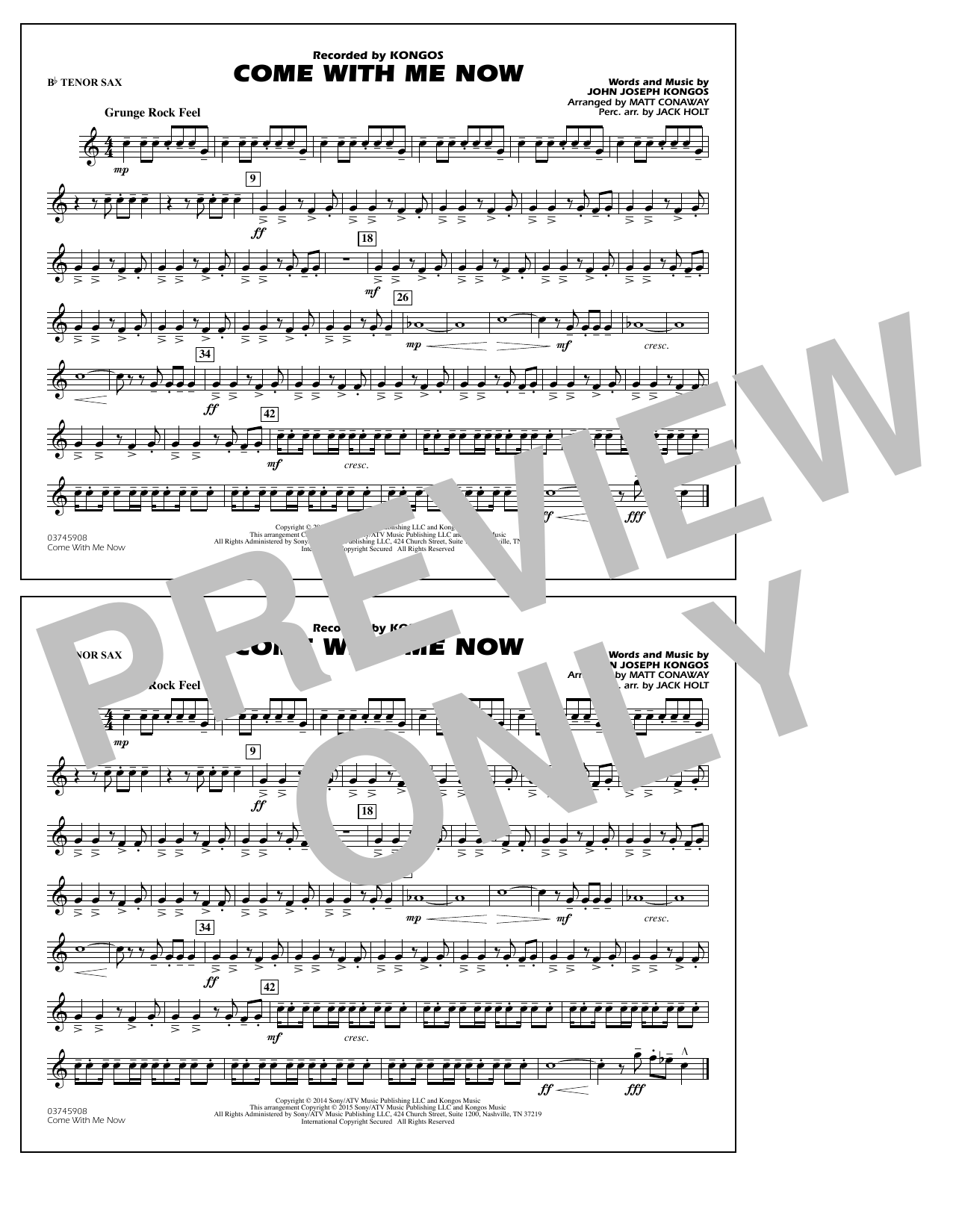 Come with Me Now - Bb Tenor Sax (Marching Band)