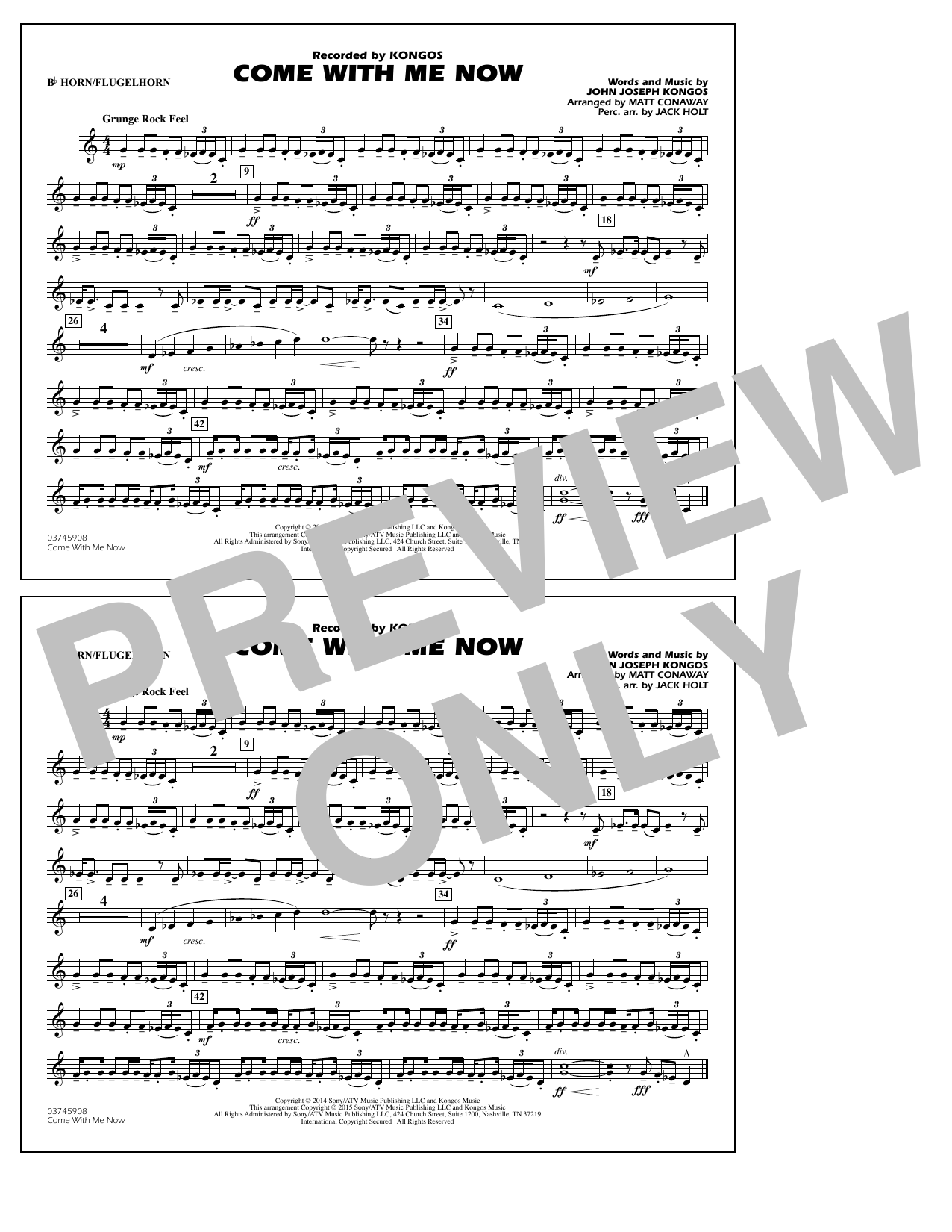 Come with Me Now - Bb Horn/Flugelhorn (Marching Band)