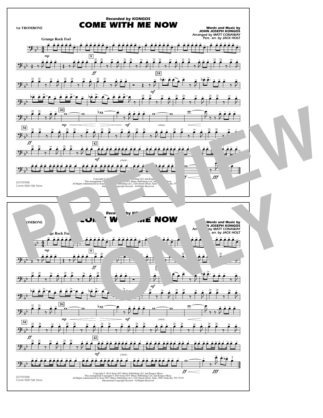 Come with Me Now - 1st Trombone (Marching Band)