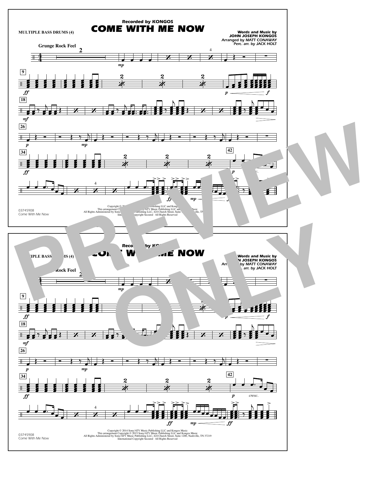 Come with Me Now - Multiple Bass Drums (Marching Band)