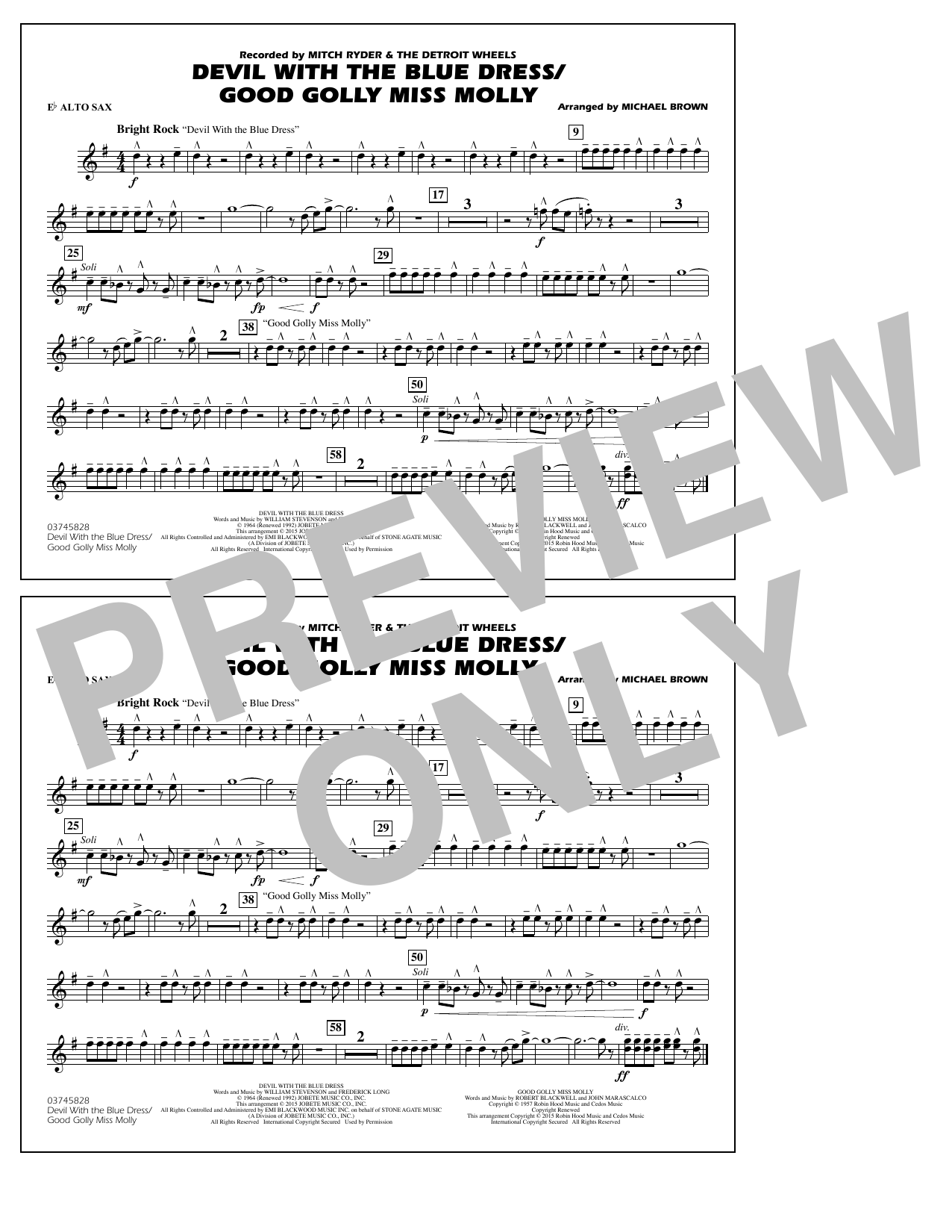 Devil with the Blue Dress/Good Golly Miss Molly - Eb Alto Sax (Marching Band)