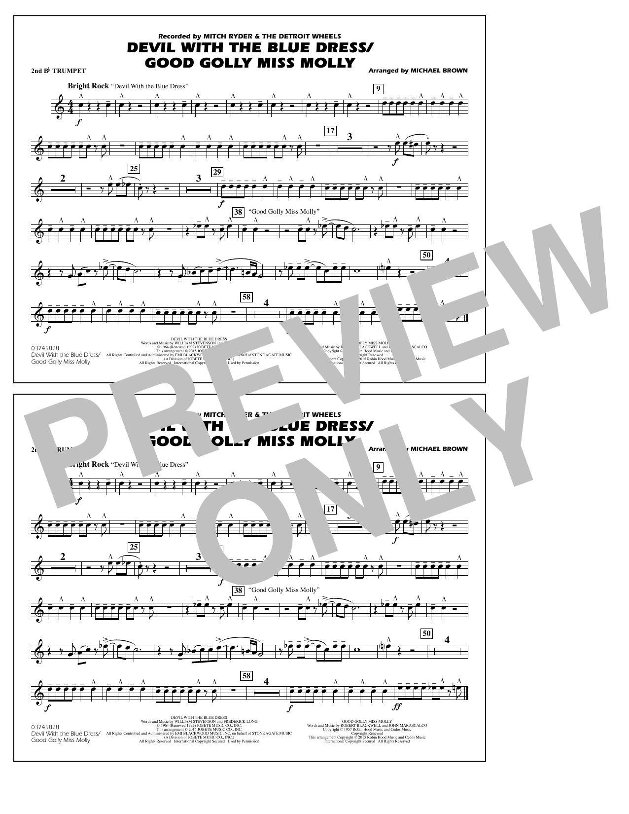Devil with the Blue Dress/Good Golly Miss Molly - 2nd Bb Trumpet (Marching Band)