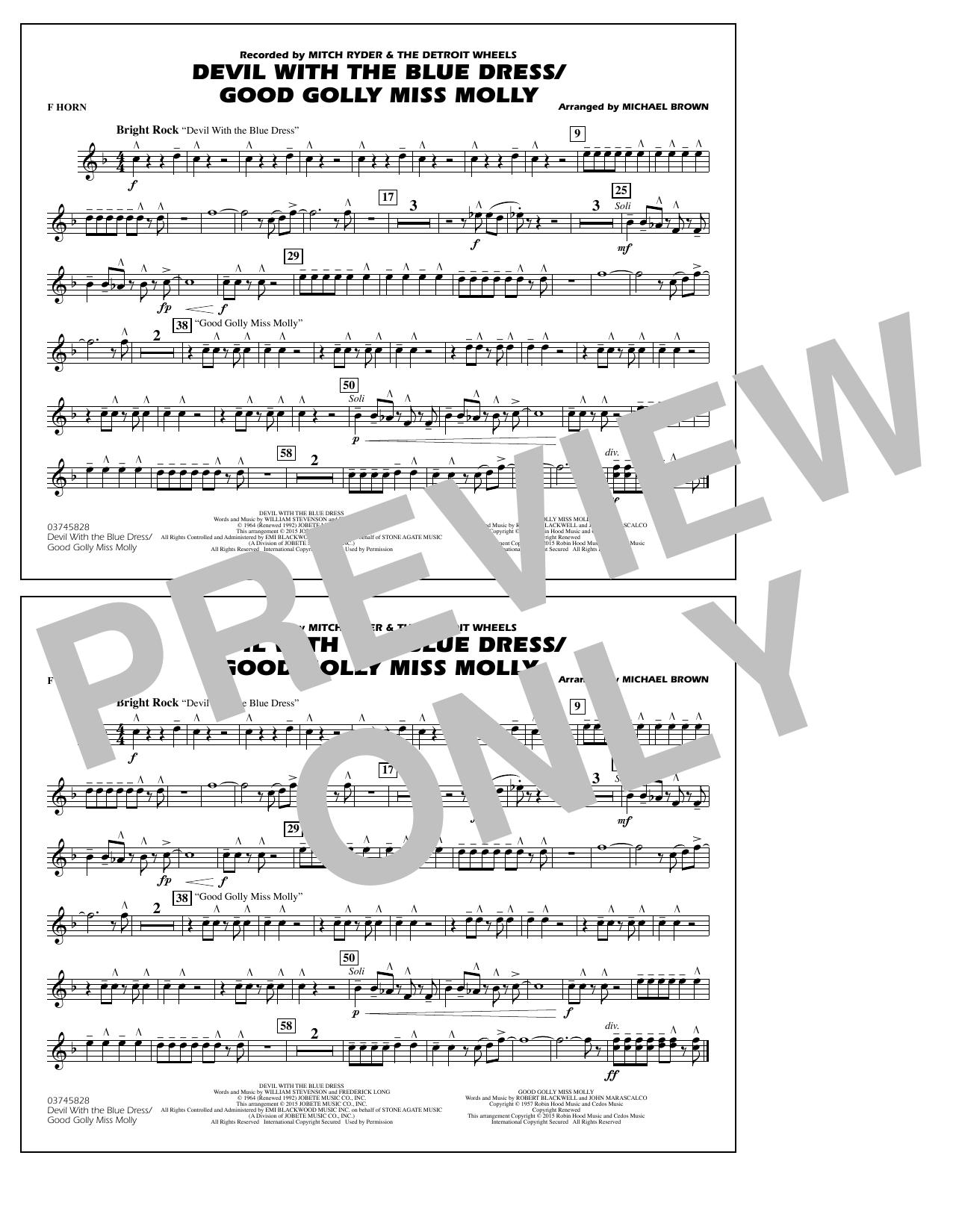 Devil with the Blue Dress/Good Golly Miss Molly - F Horn (Marching Band)