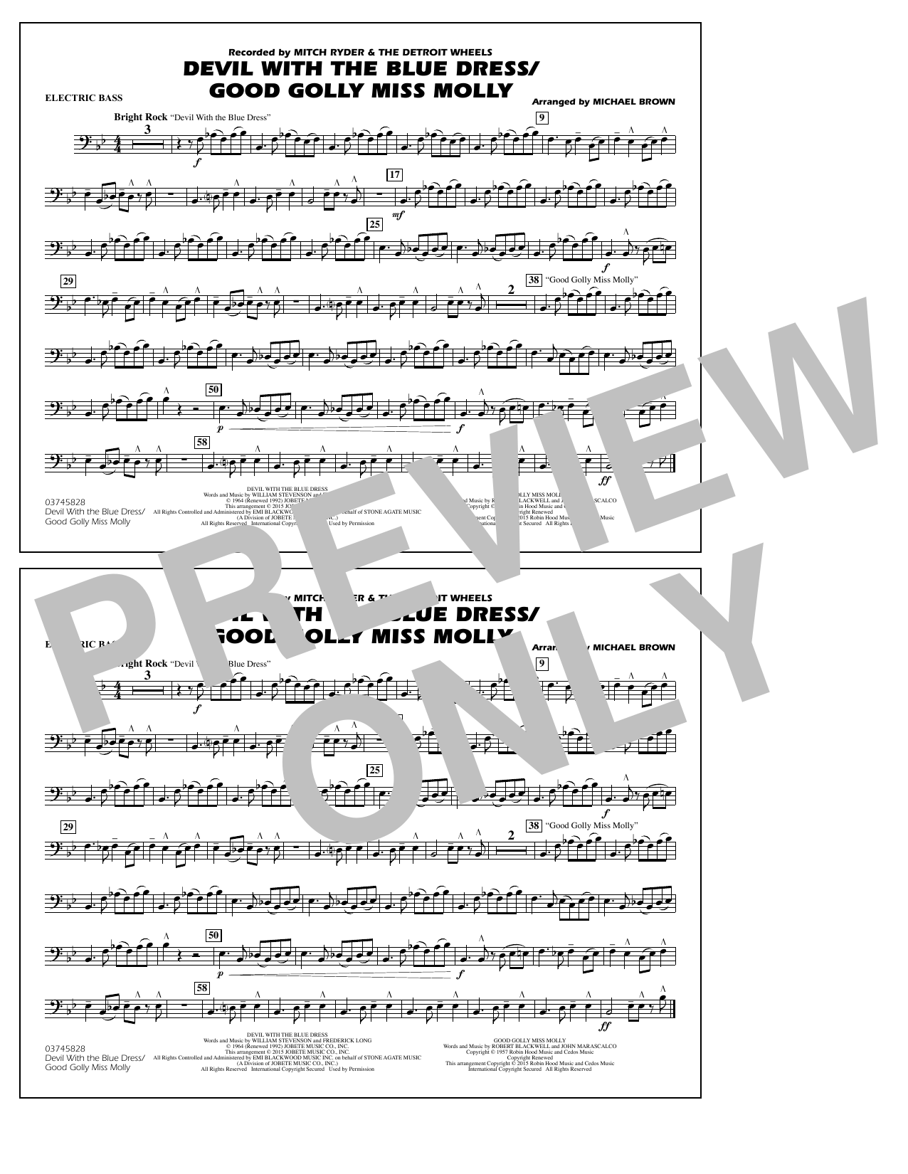 Devil with the Blue Dress/Good Golly Miss Molly - Electric Bass (Marching Band)