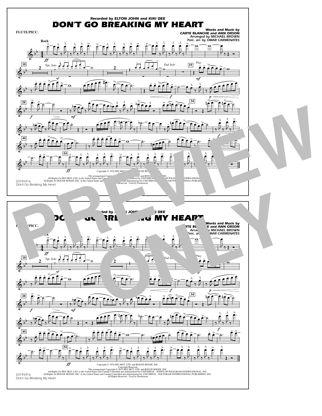 Don't Go Breaking My Heart - Flute/Piccolo (Marching Band)