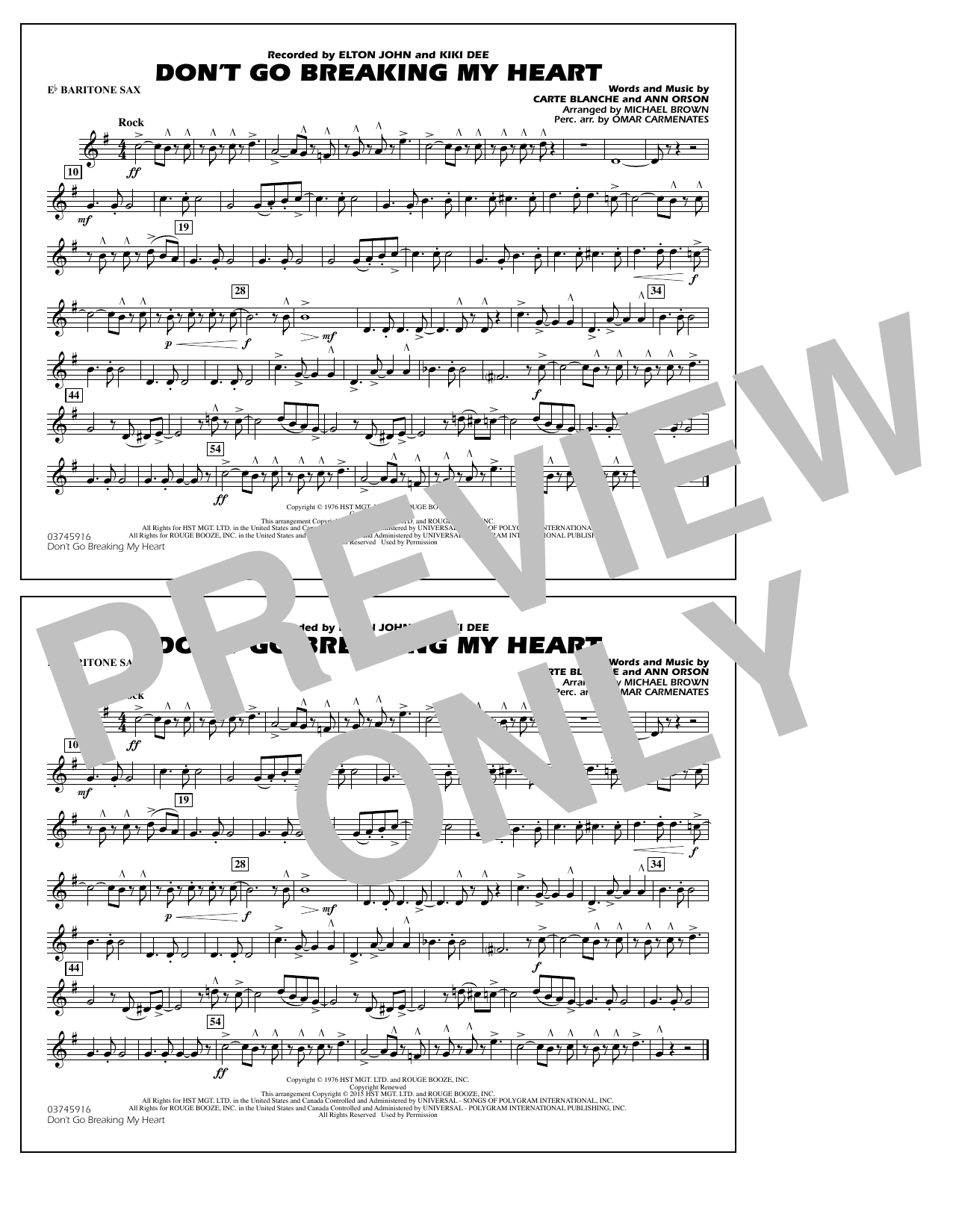 Don't Go Breaking My Heart - Eb Baritone Sax (Marching Band)