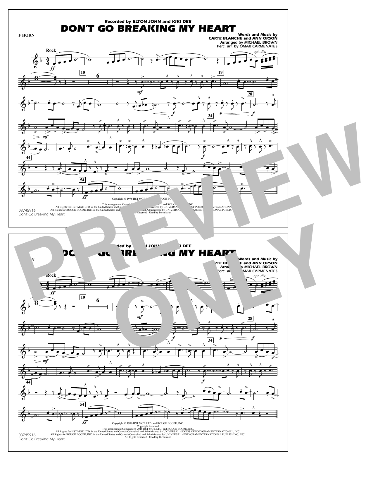 Don't Go Breaking My Heart - F Horn (Marching Band)