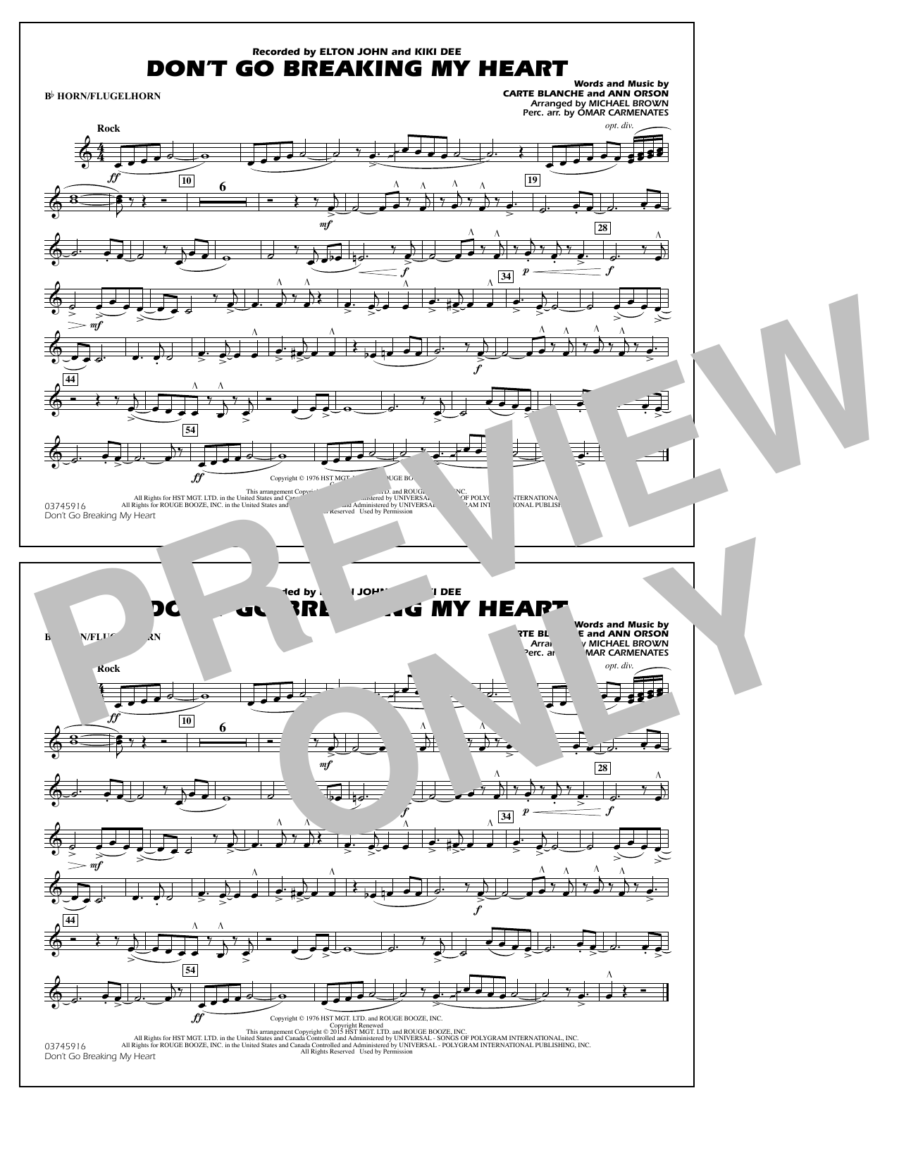 Don't Go Breaking My Heart - Bb Horn/Flugelhorn (Marching Band)