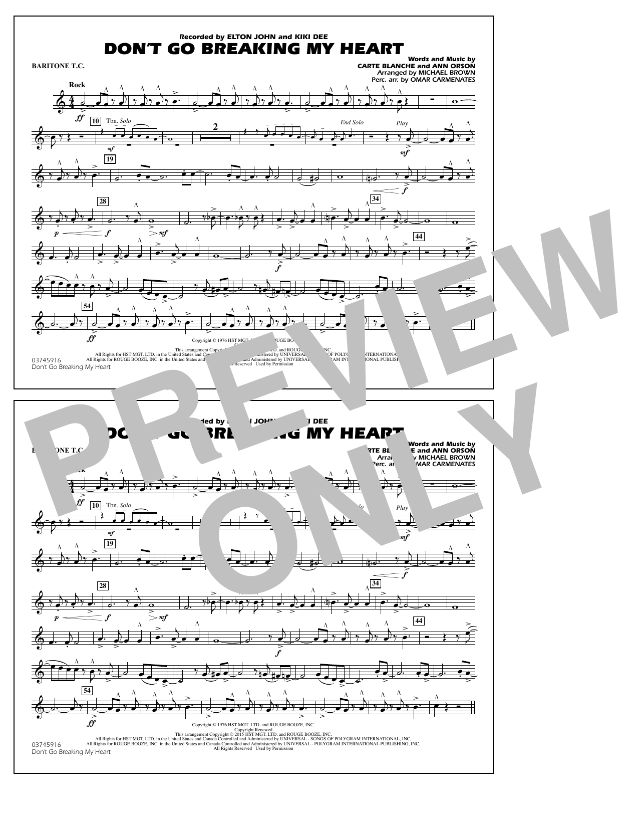 Don't Go Breaking My Heart - Baritone T.C. (Marching Band)