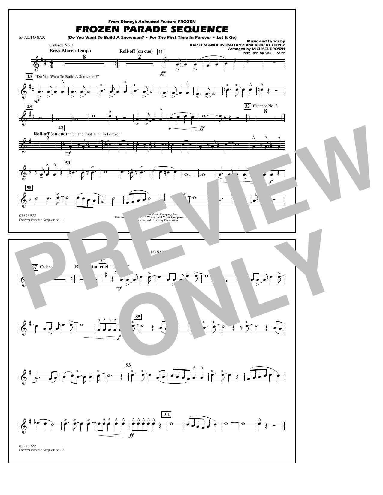 Frozen Parade Sequence - Eb Alto Sax (Marching Band)