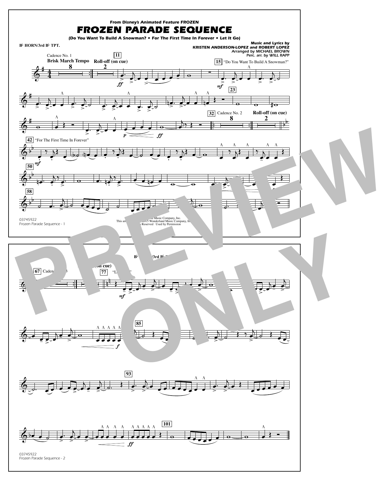 Frozen Parade Sequence - Bb Horn/3rd Bb Tpt (Marching Band)