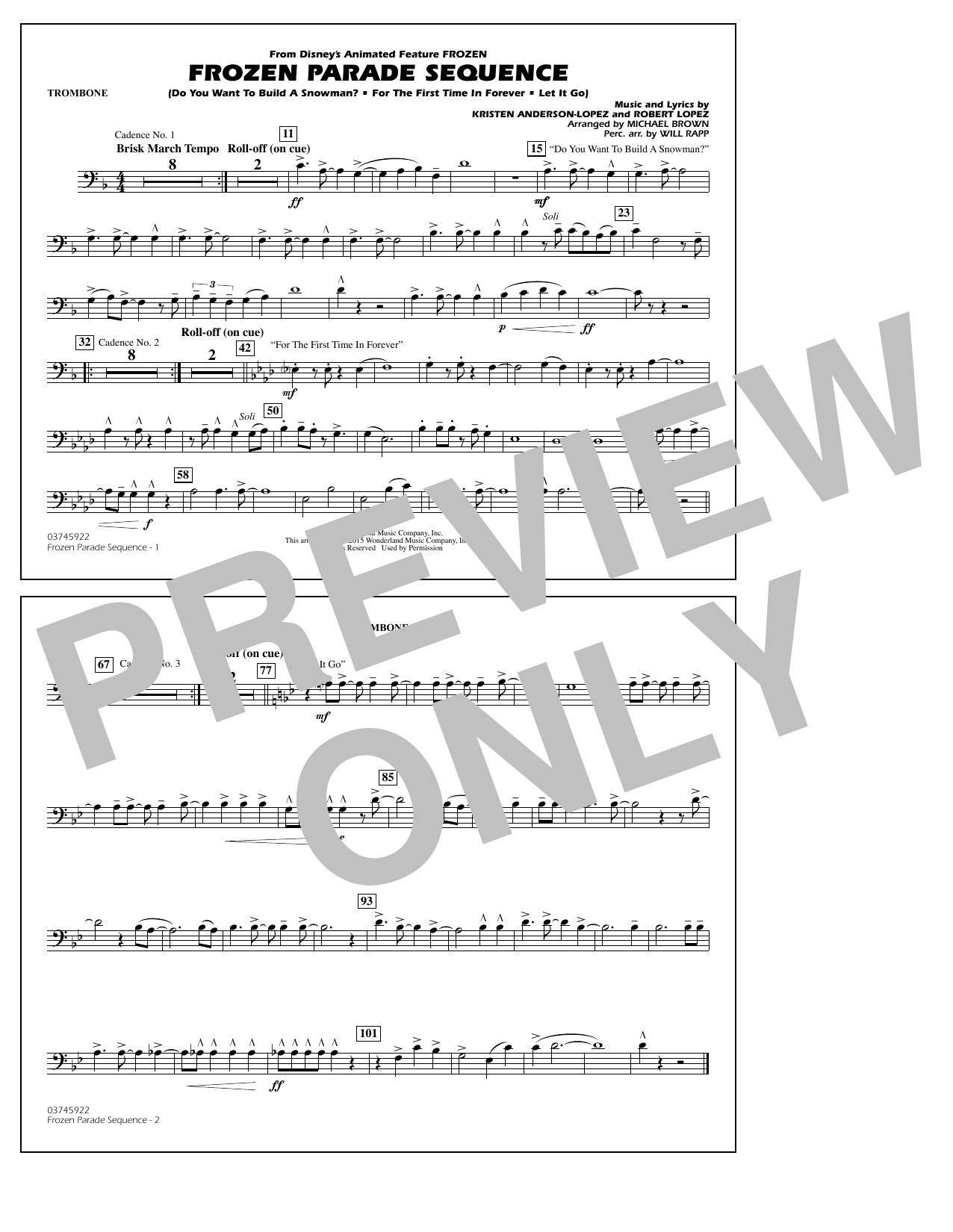 Frozen Parade Sequence - Trombone (Marching Band)
