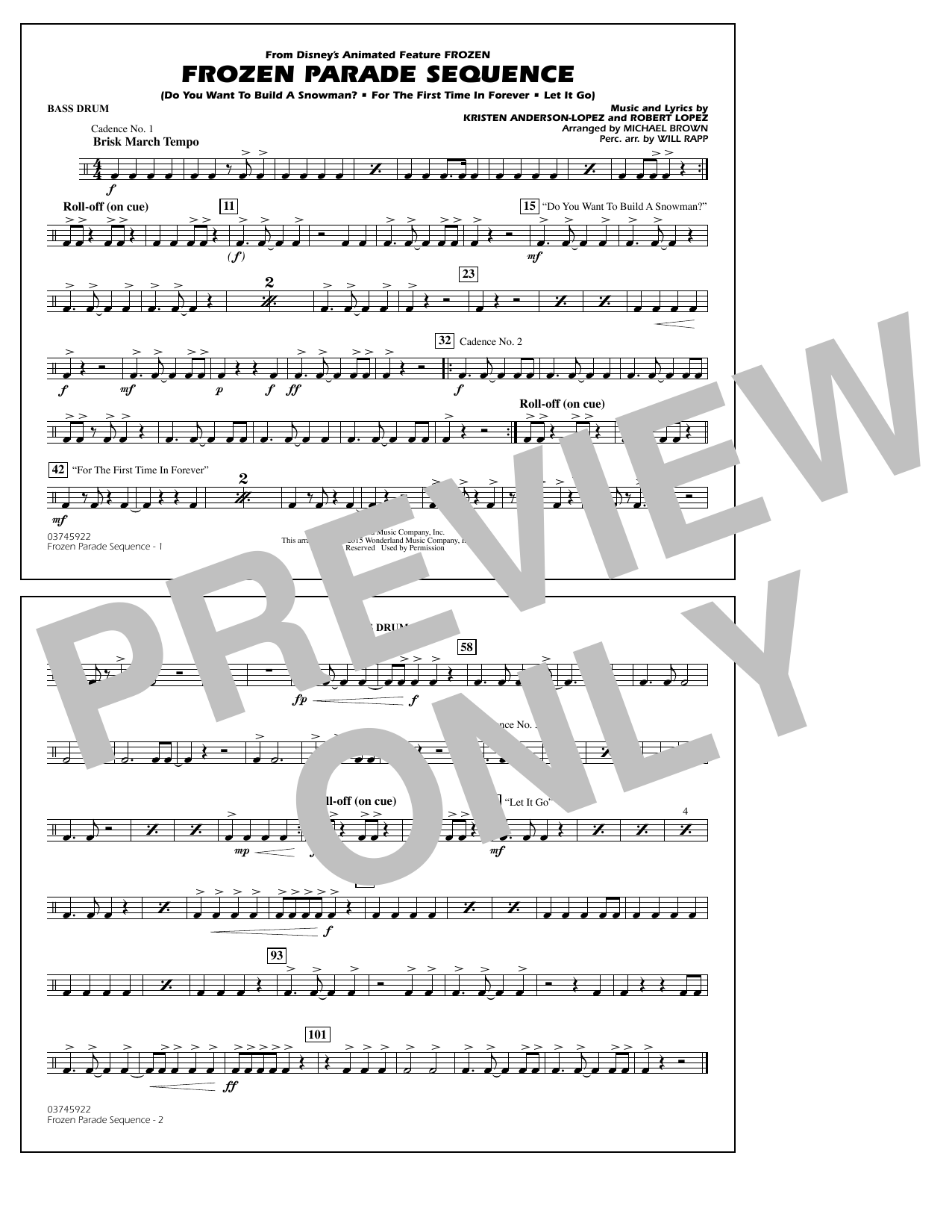 Frozen Parade Sequence - Bass Drum - Sheet Music to Download