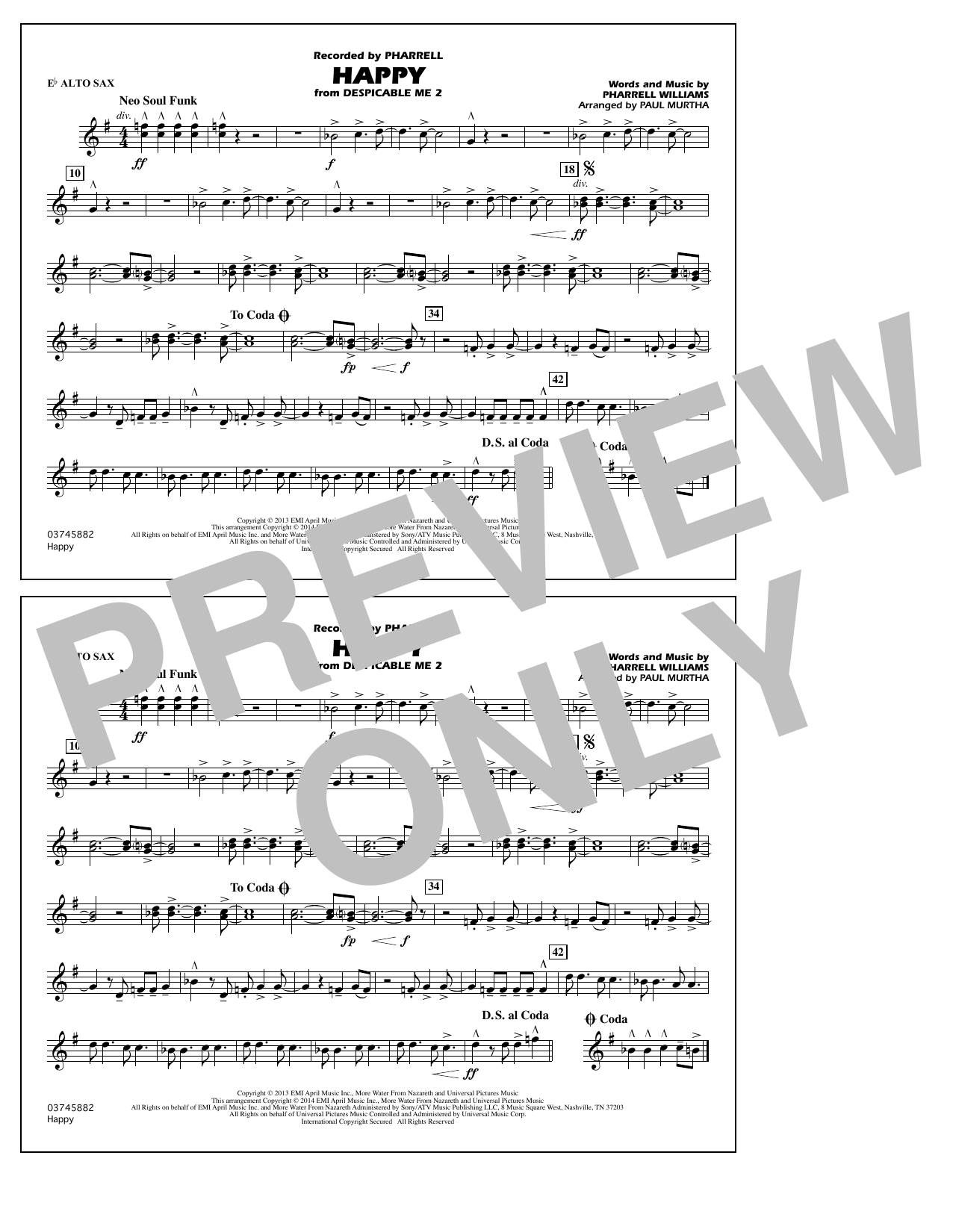 Happy (from Despicable Me 2) - Eb Alto Sax (Marching Band)