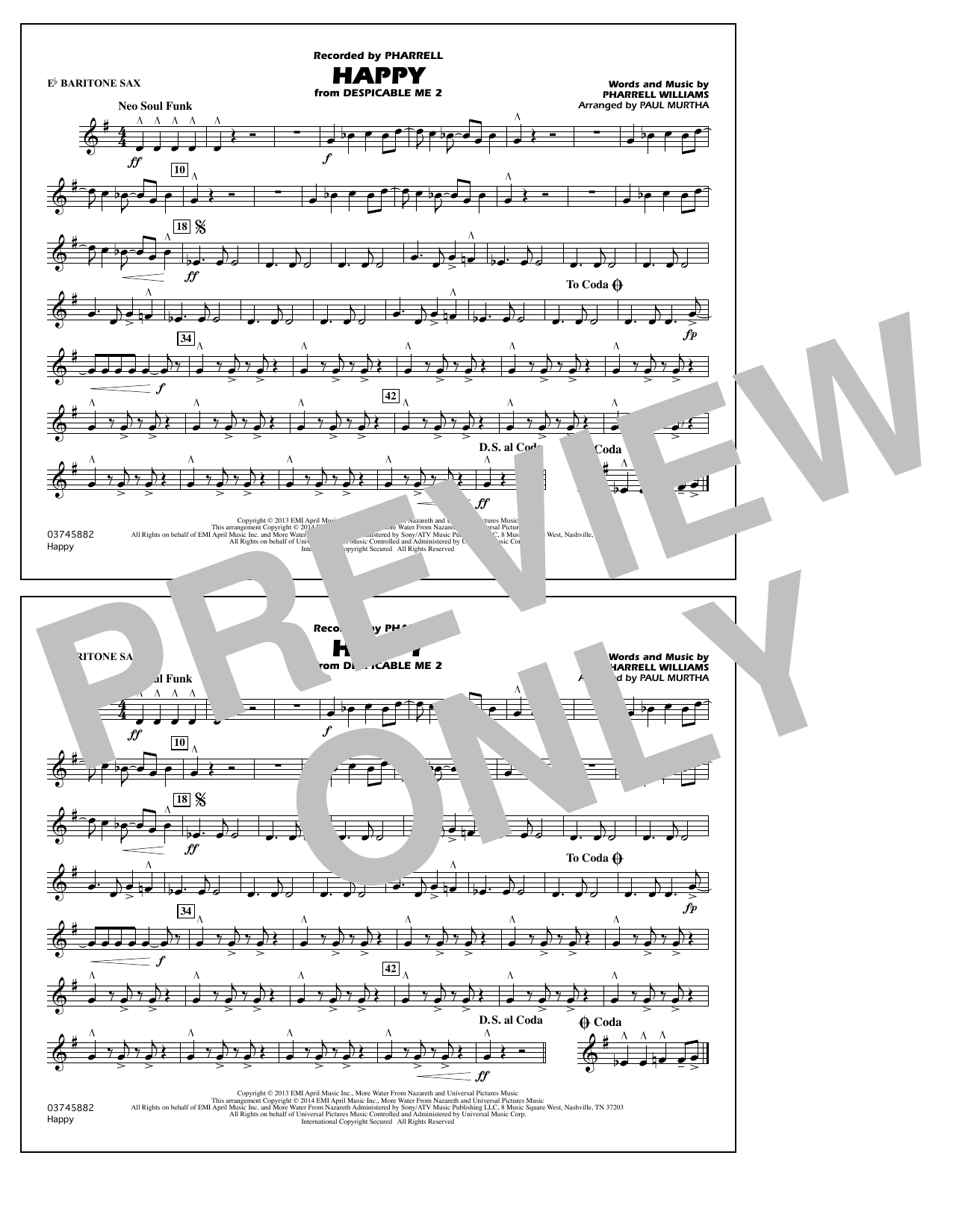 Happy (from Despicable Me 2) - Eb Baritone Sax (Marching Band)