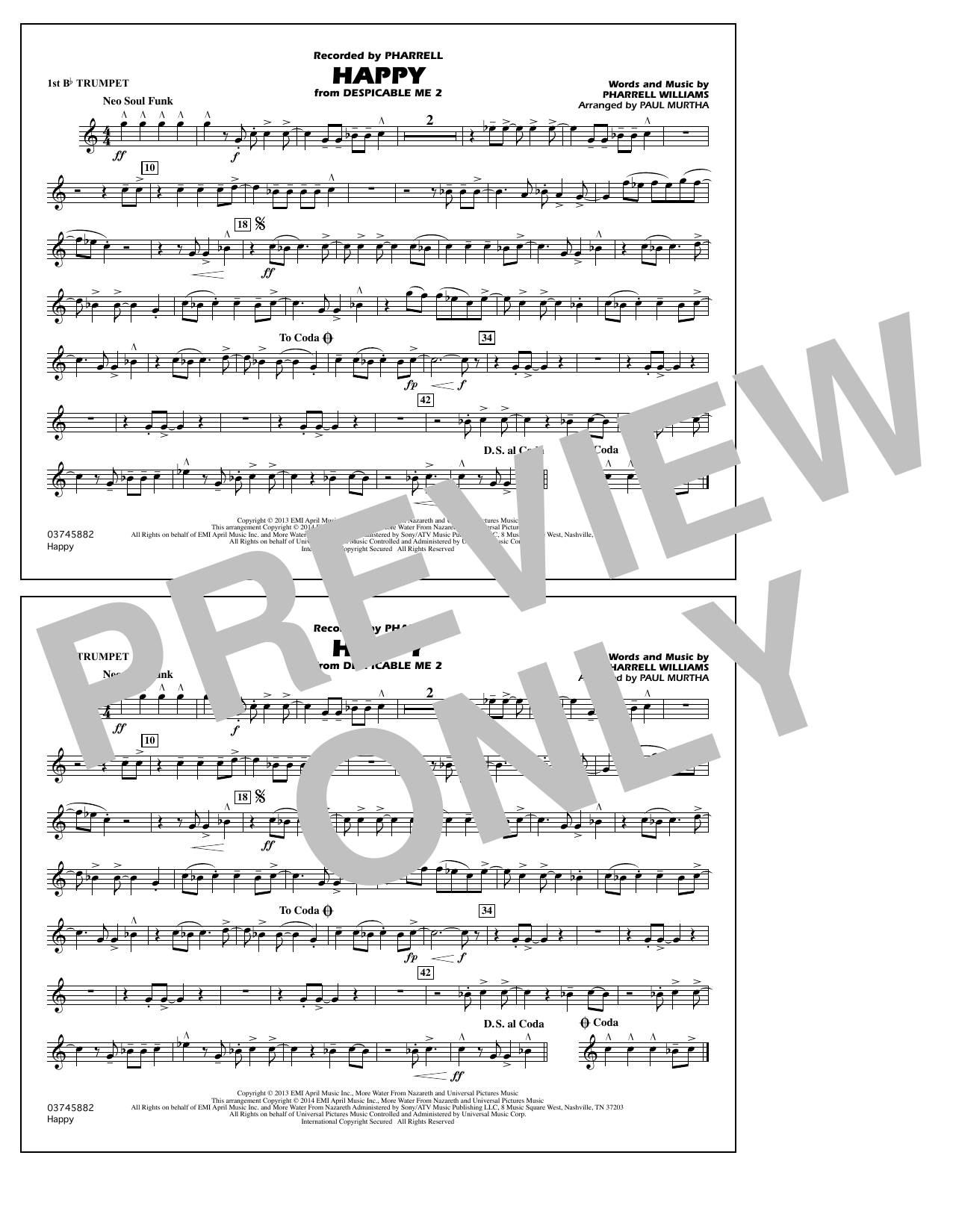 Happy (from Despicable Me 2) - 1st Bb Trumpet (Marching Band)