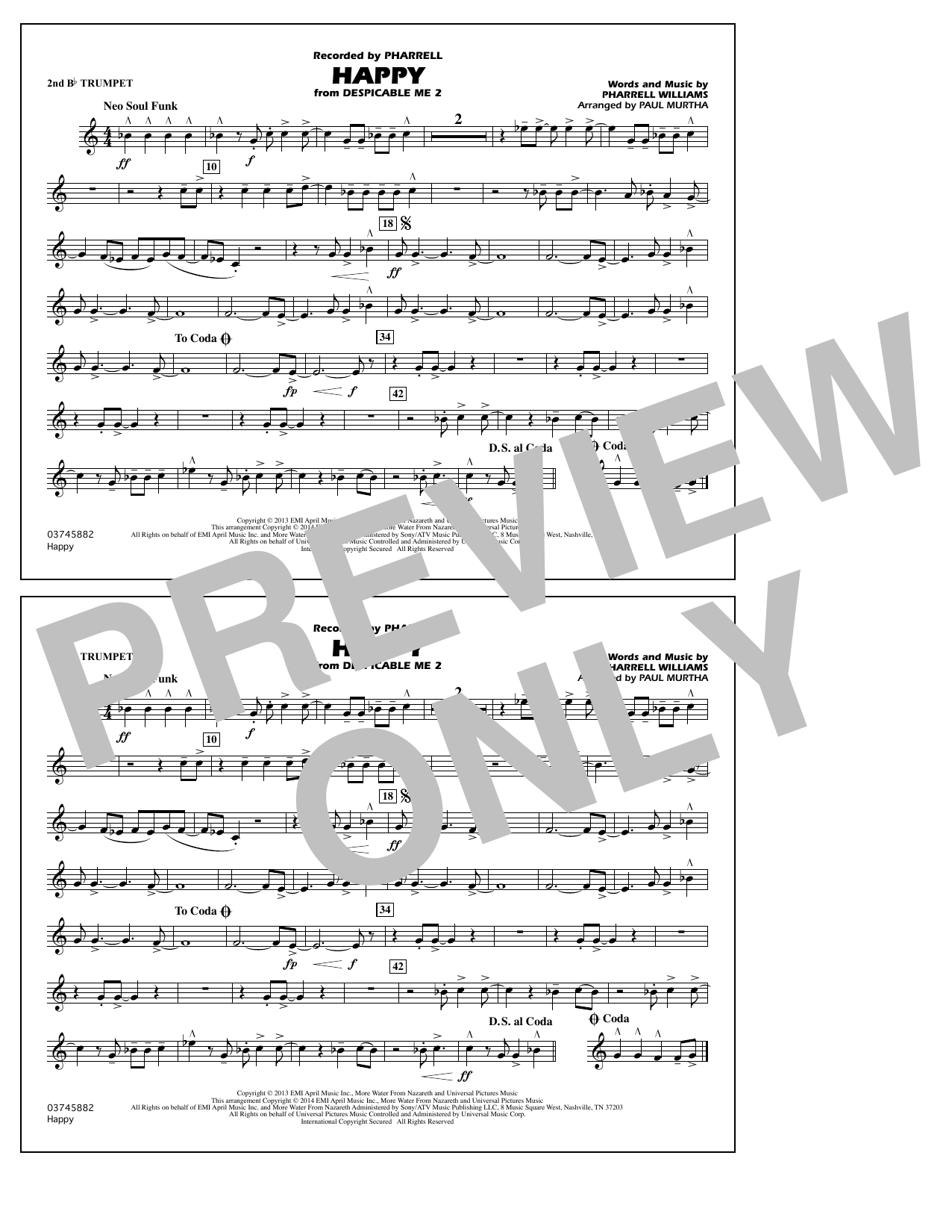 Happy (from Despicable Me 2) - 2nd Bb Trumpet (Marching Band)