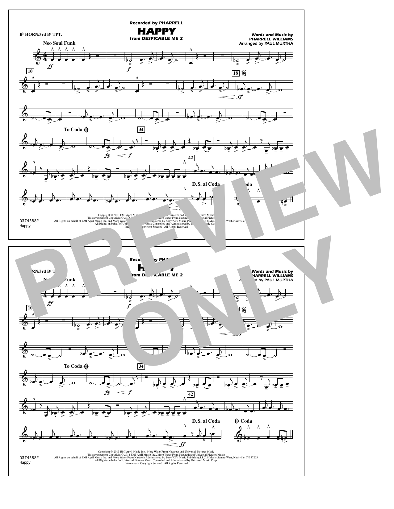 Happy (from Despicable Me 2) - Bb Horn/3rd Bb Tpt (Marching Band)