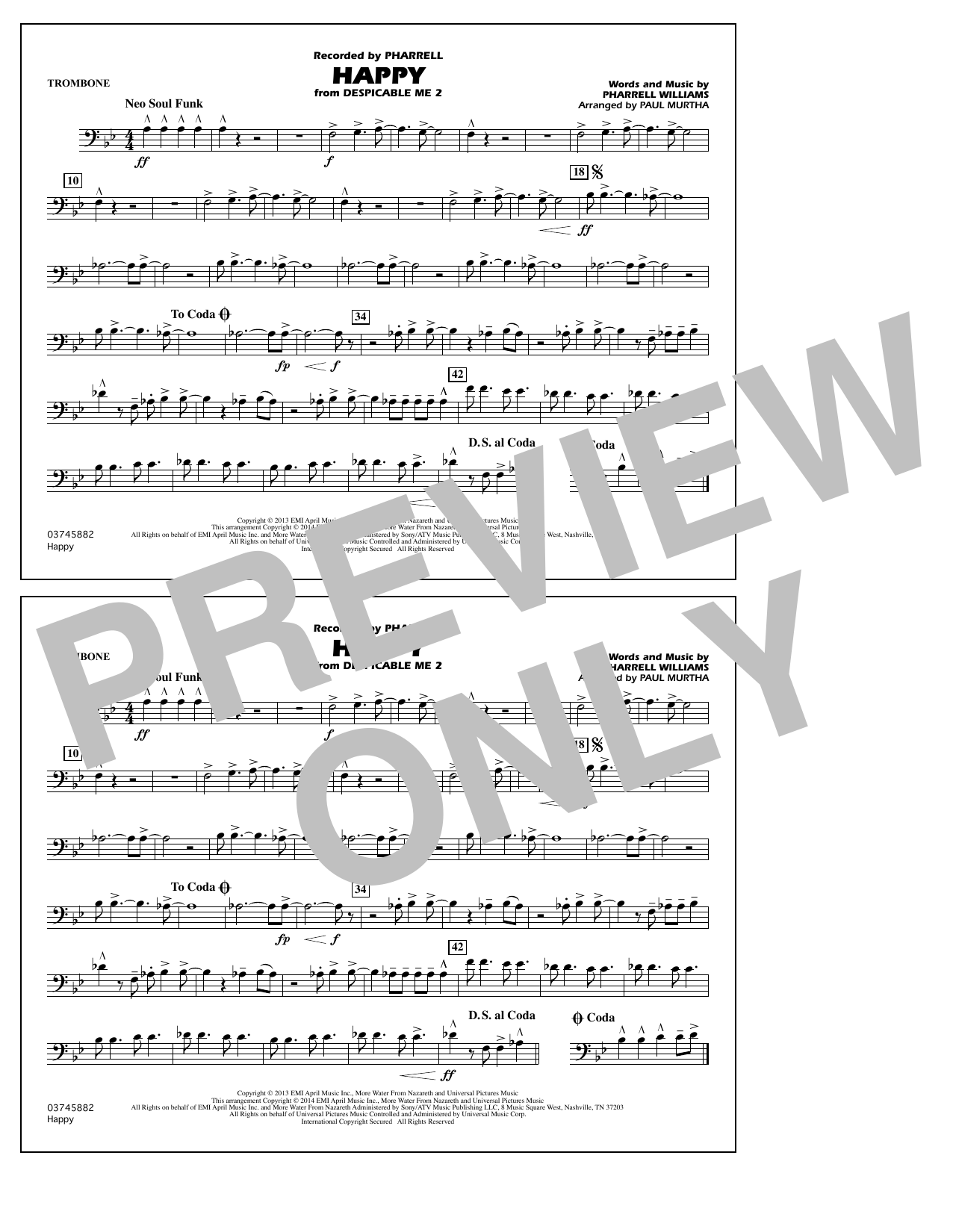 Happy (from Despicable Me 2) - Trombone (Marching Band)