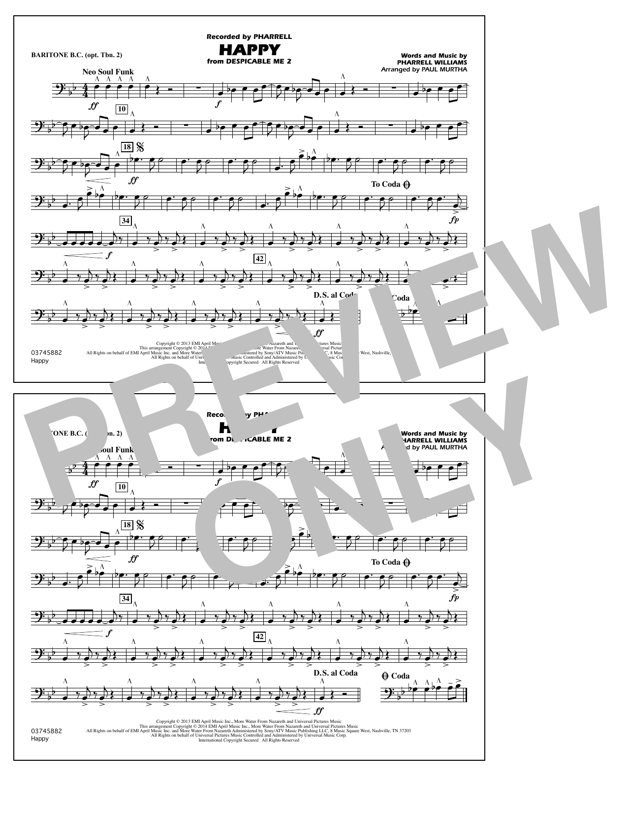 Happy (from Despicable Me 2) - Baritone B.C. (Opt. Tbn. 2) (Marching Band)