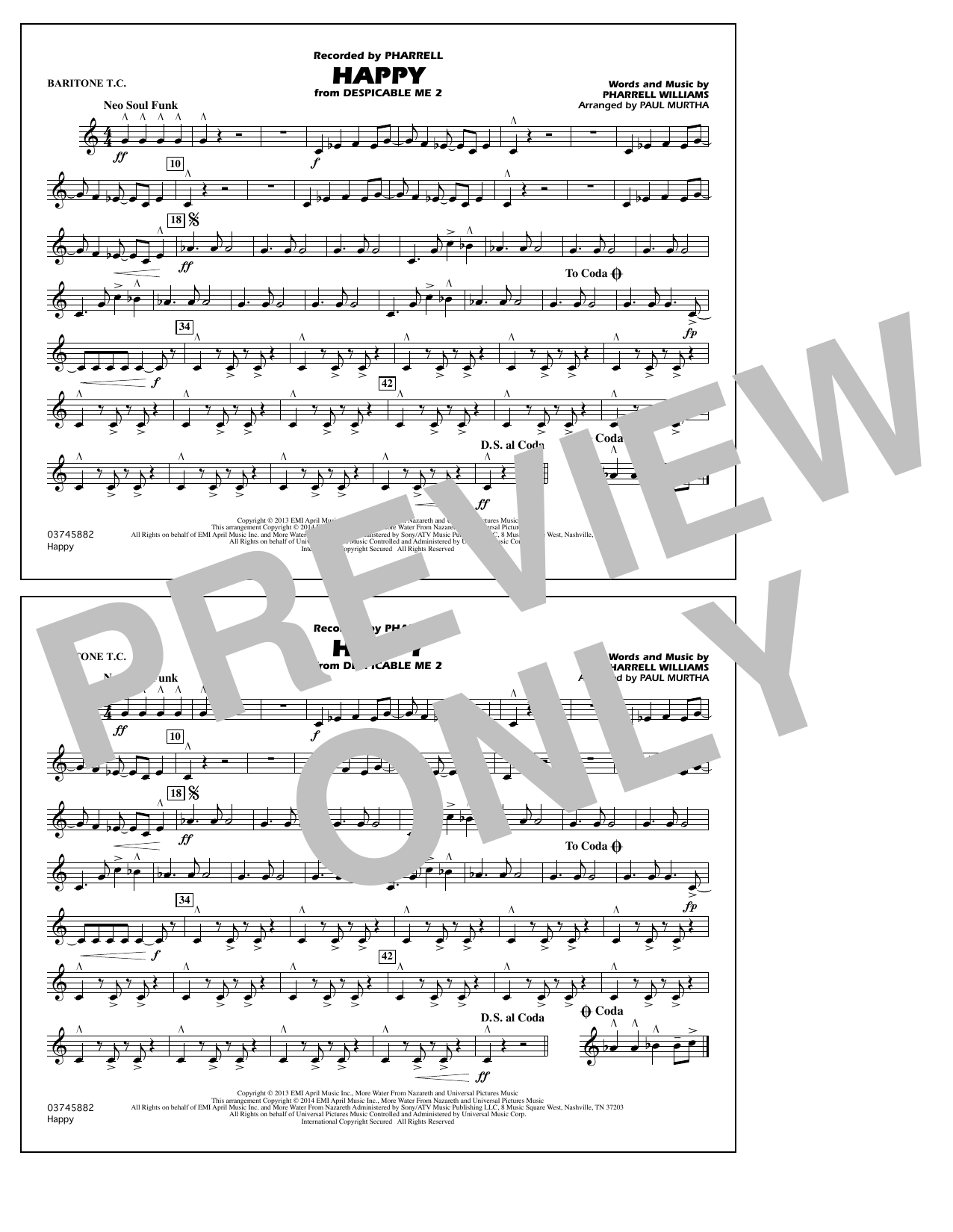 Happy (from Despicable Me 2) - Baritone T.C. (Marching Band)