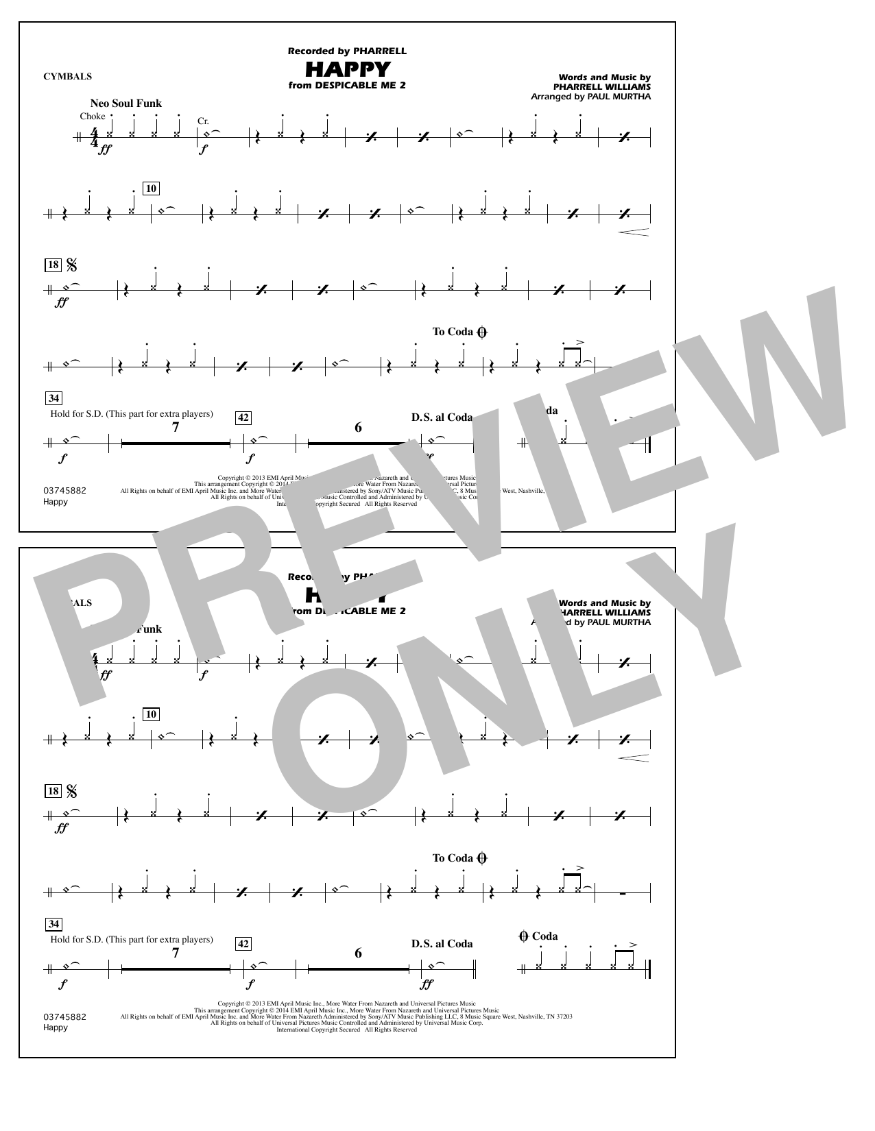 Happy (from Despicable Me 2) - Cymbals (Marching Band)