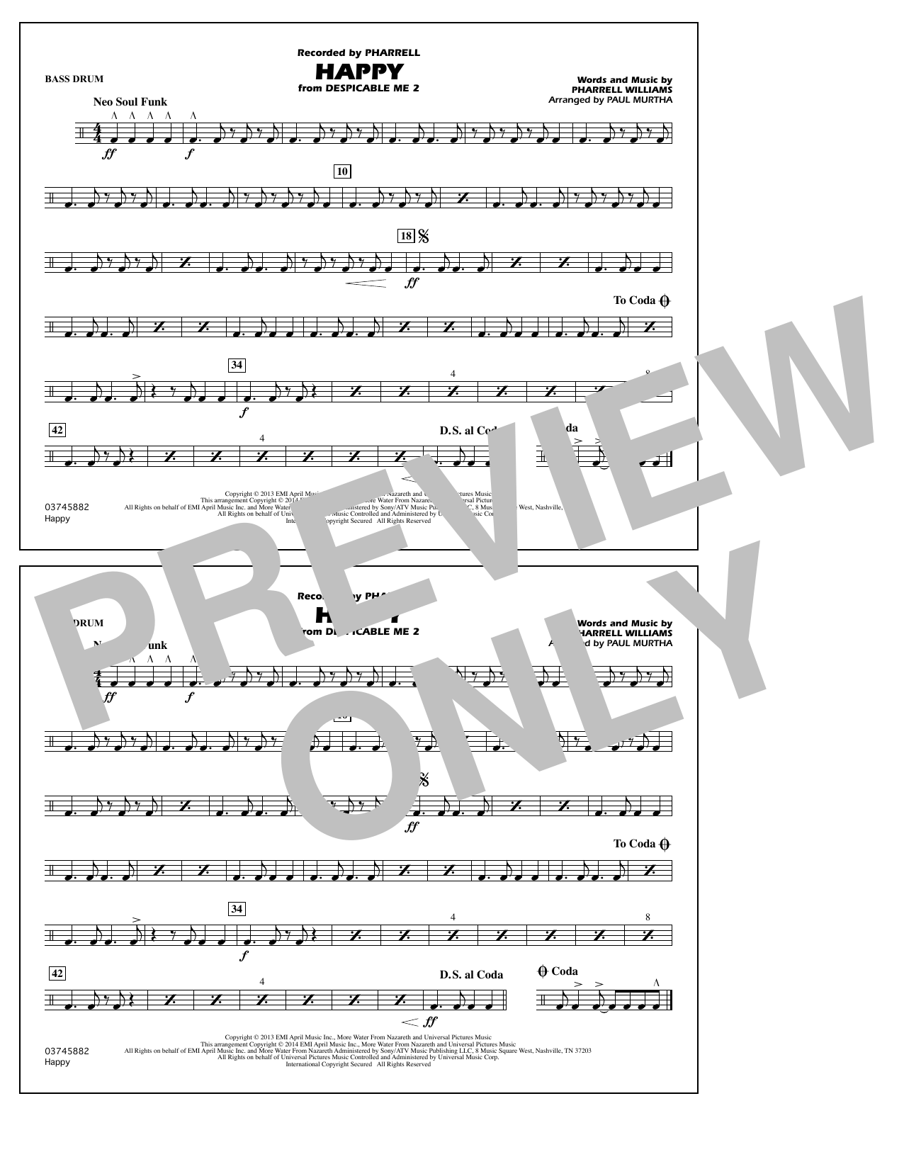 Happy (from Despicable Me 2) - Bass Drum (Marching Band)