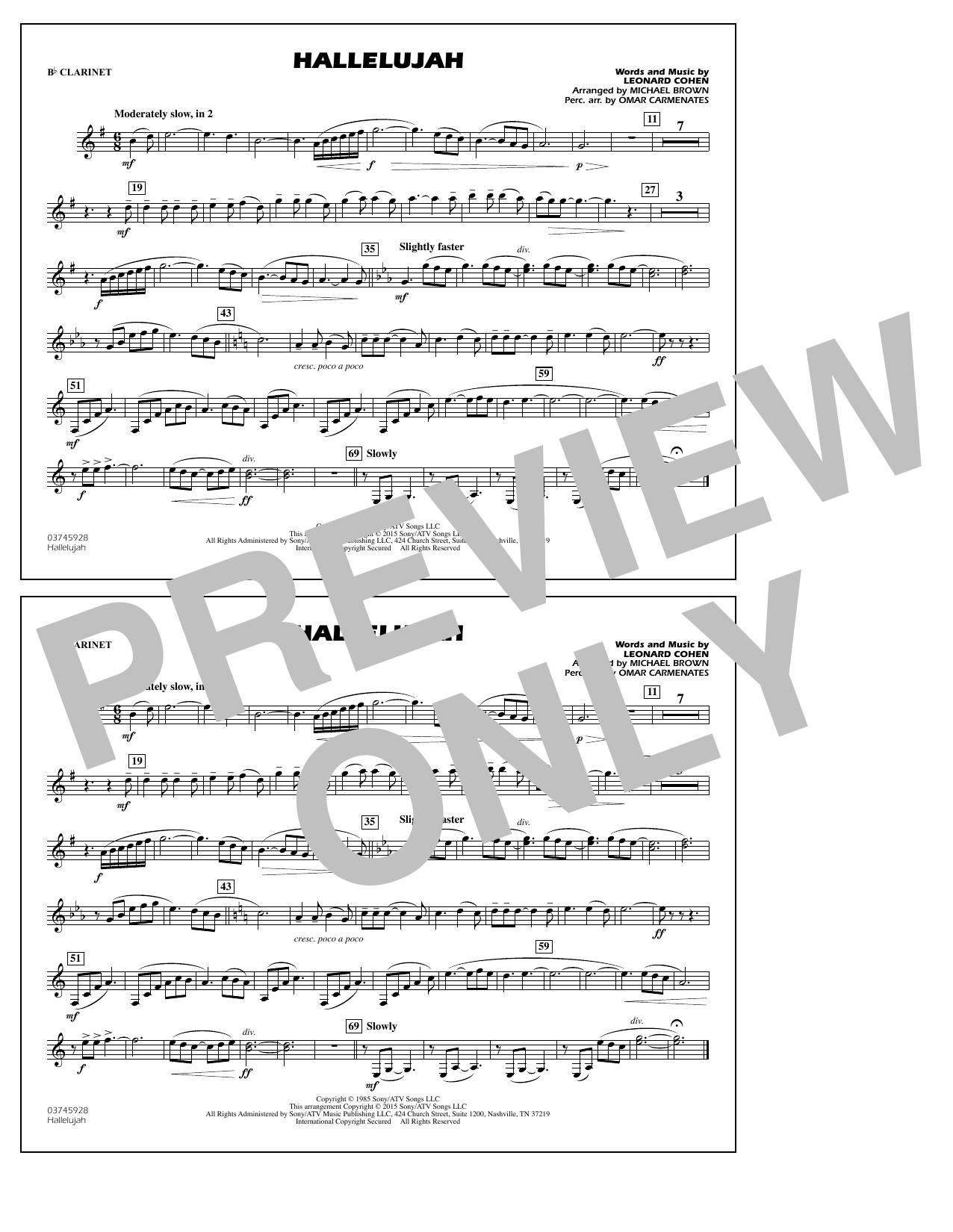 Hallelujah - Bb Clarinet (Marching Band)