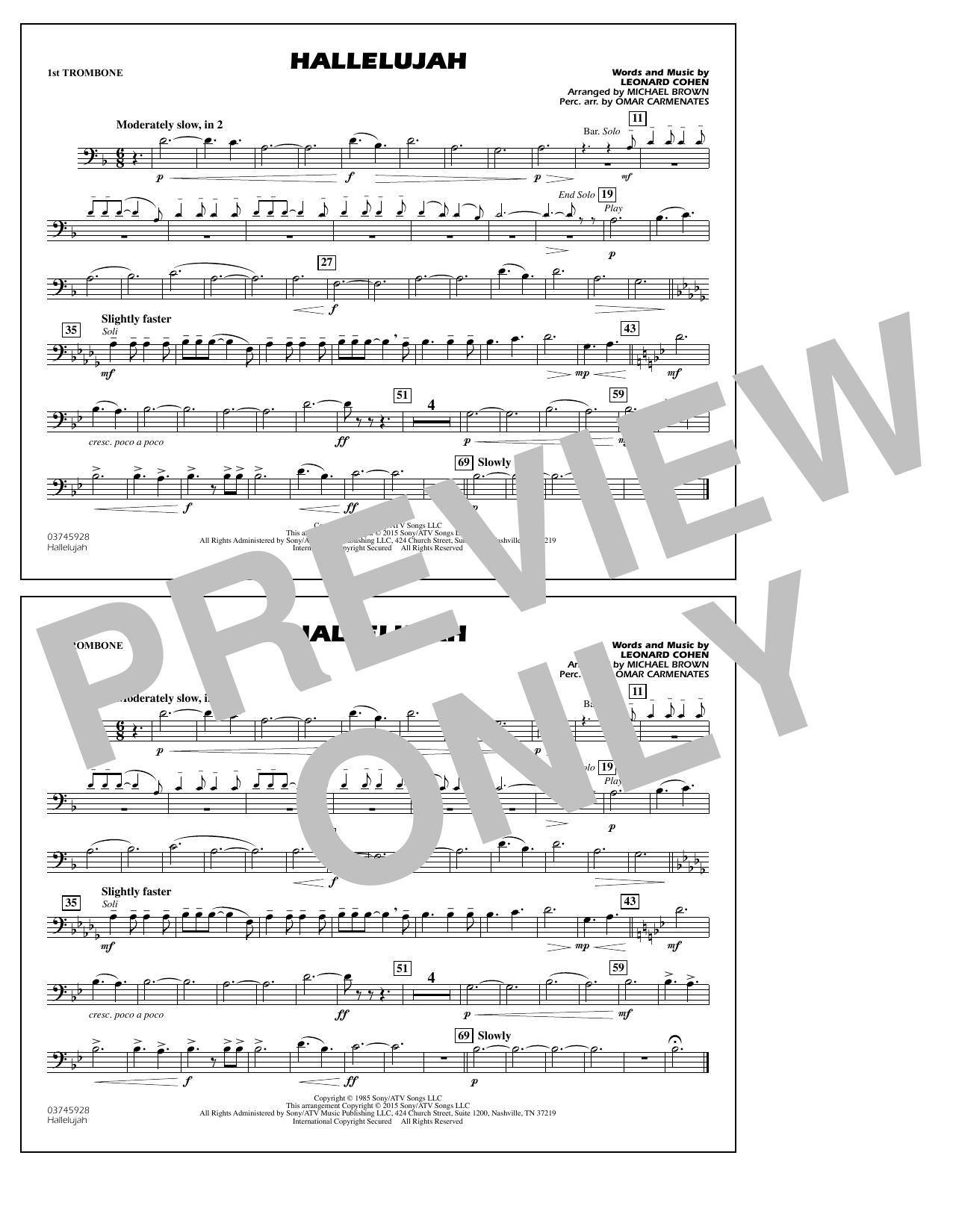 Hallelujah - 1st Trombone (Marching Band)