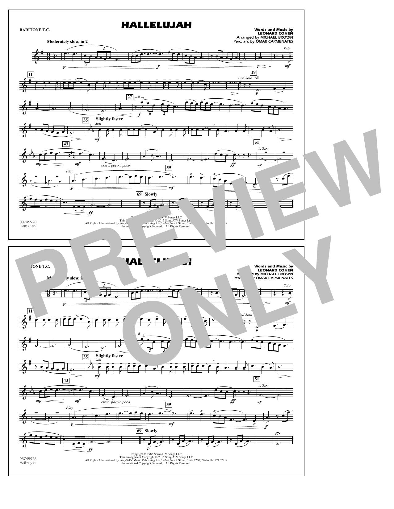 Hallelujah - Baritone T.C. (Marching Band)