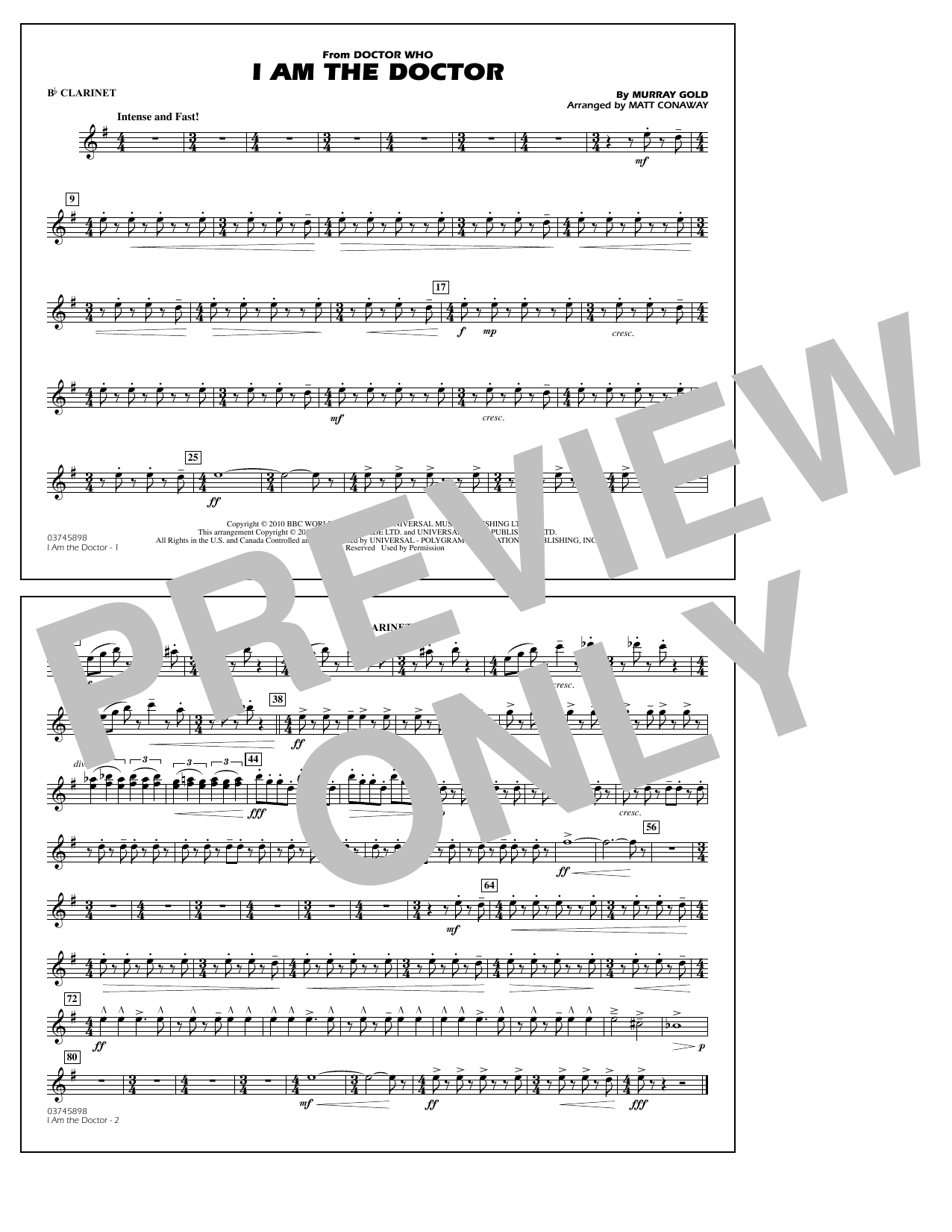 I Am the Doctor (from Doctor Who) - Bb Clarinet (Marching Band)