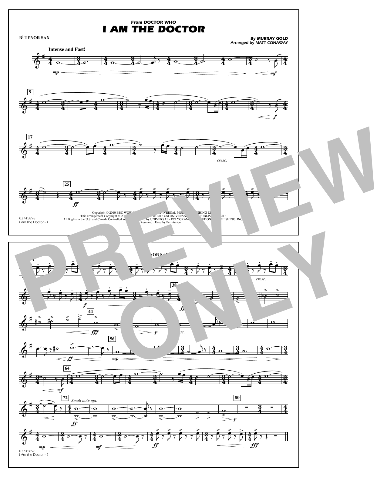 I Am the Doctor (from Doctor Who) - Bb Tenor Sax (Marching Band)