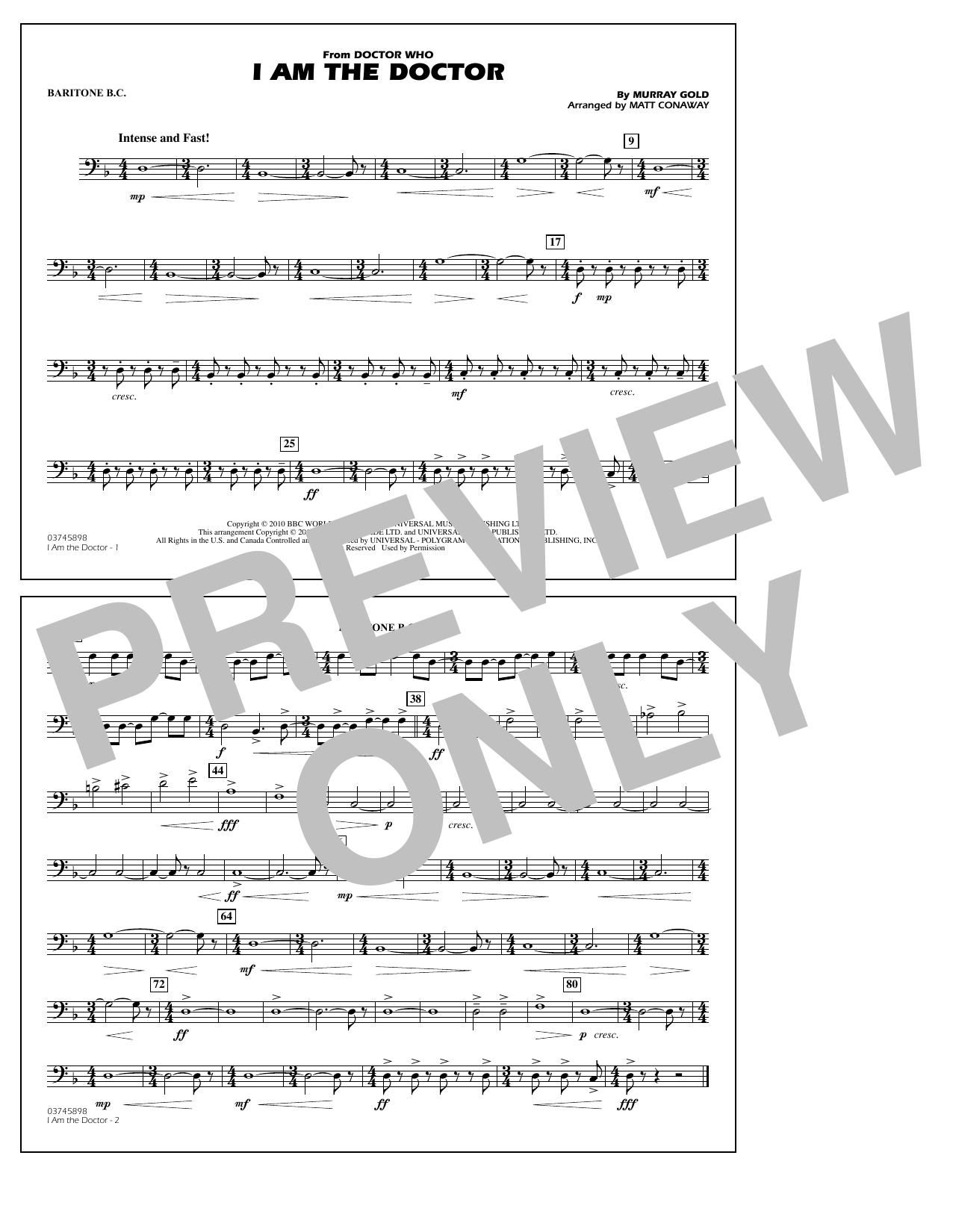 I Am the Doctor (from Doctor Who) - Baritone B.C. (Marching Band)