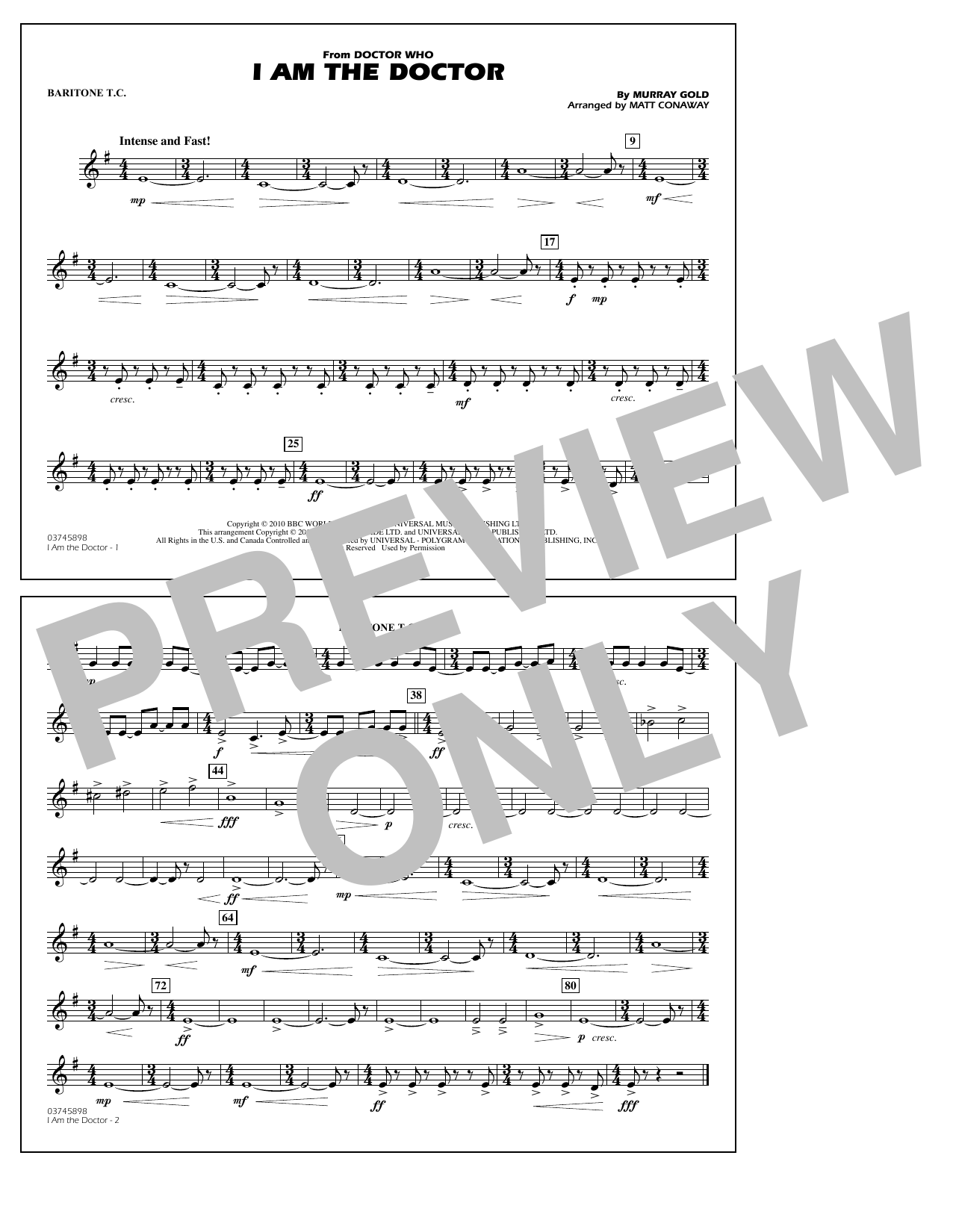 I Am the Doctor (from Doctor Who) - Baritone T.C. (Marching Band)