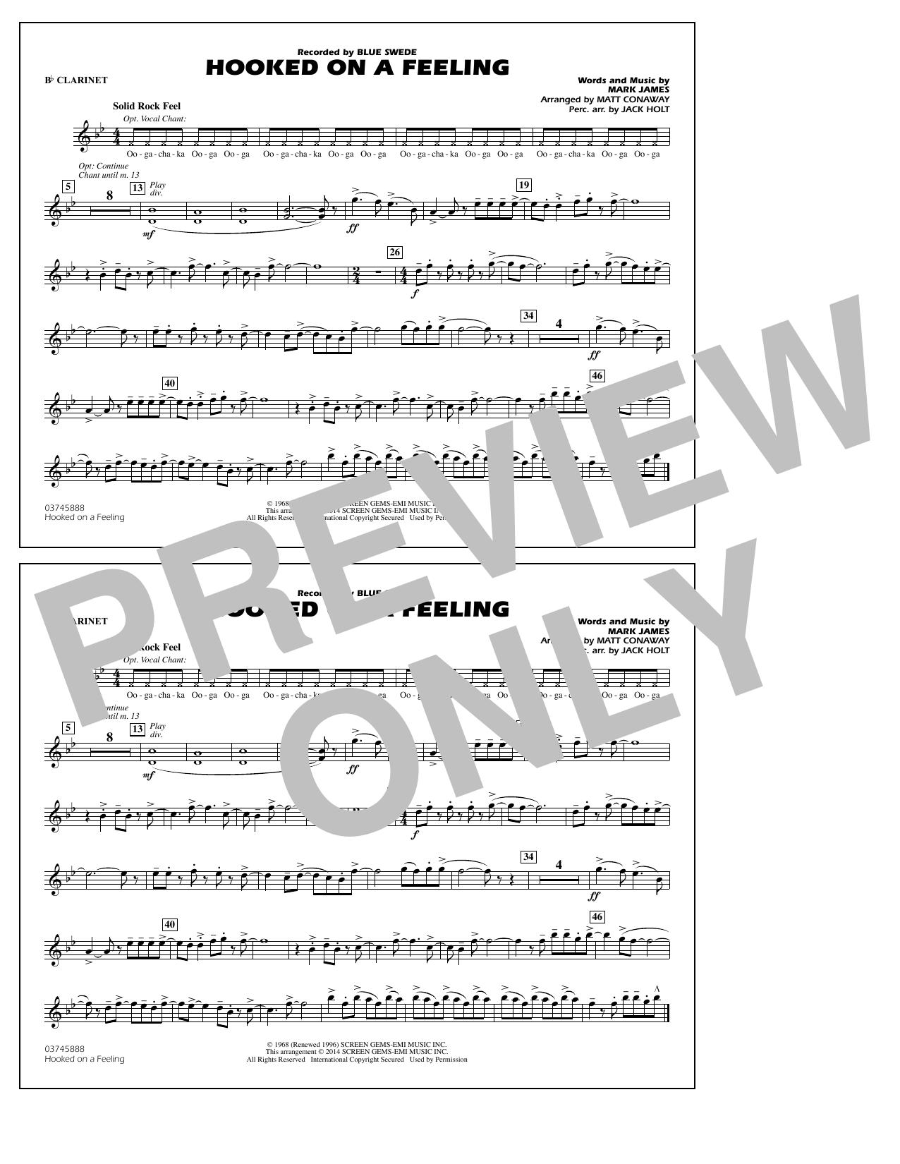 Hooked on a Feeling - Bb Clarinet (Marching Band)