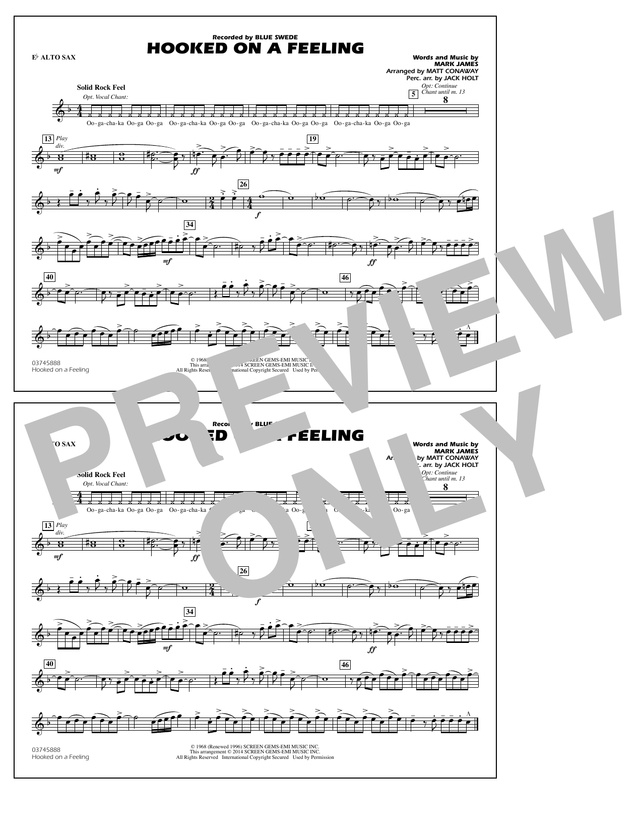 Hooked on a Feeling - Eb Alto Sax (Marching Band)