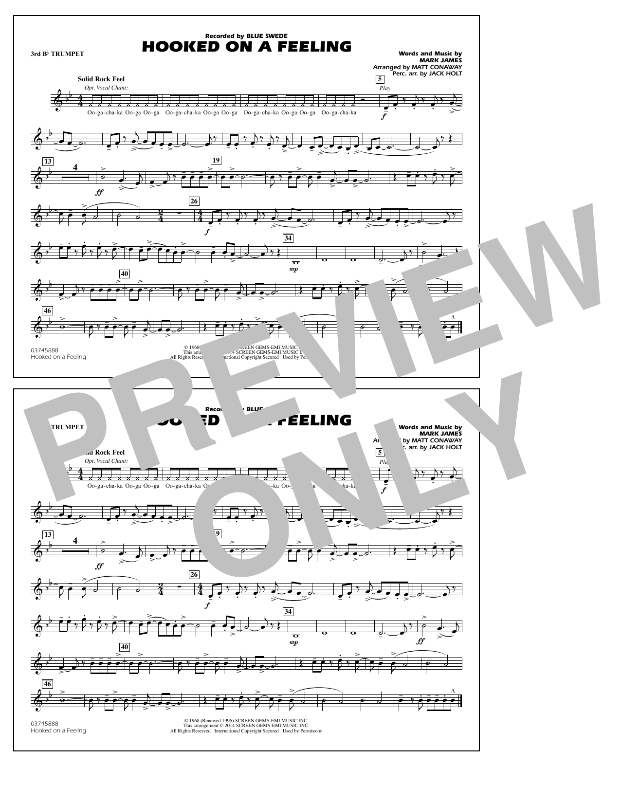 Hooked on a Feeling - 3rd Bb Trumpet (Marching Band)