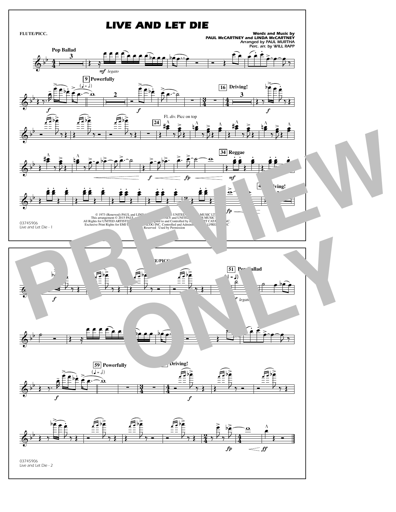 Live and Let Die - Flute/Piccolo (Marching Band)