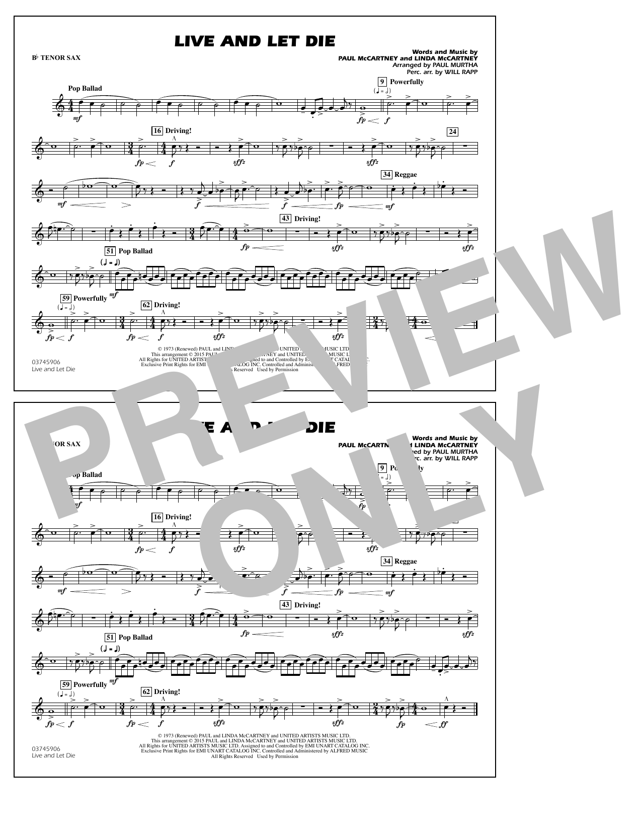 Live and Let Die - Bb Tenor Sax (Marching Band)