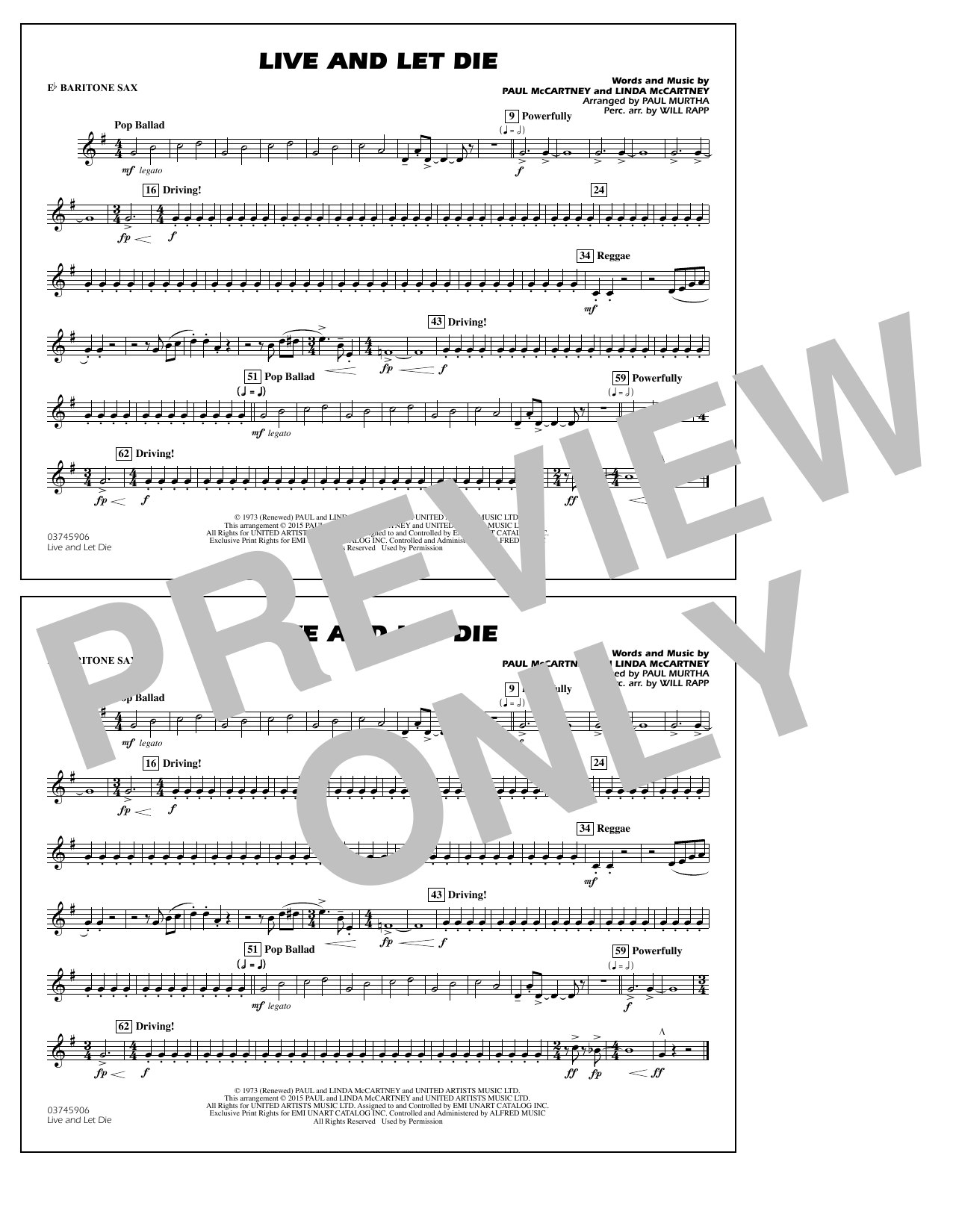 Live and Let Die - Eb Baritone Sax (Marching Band)