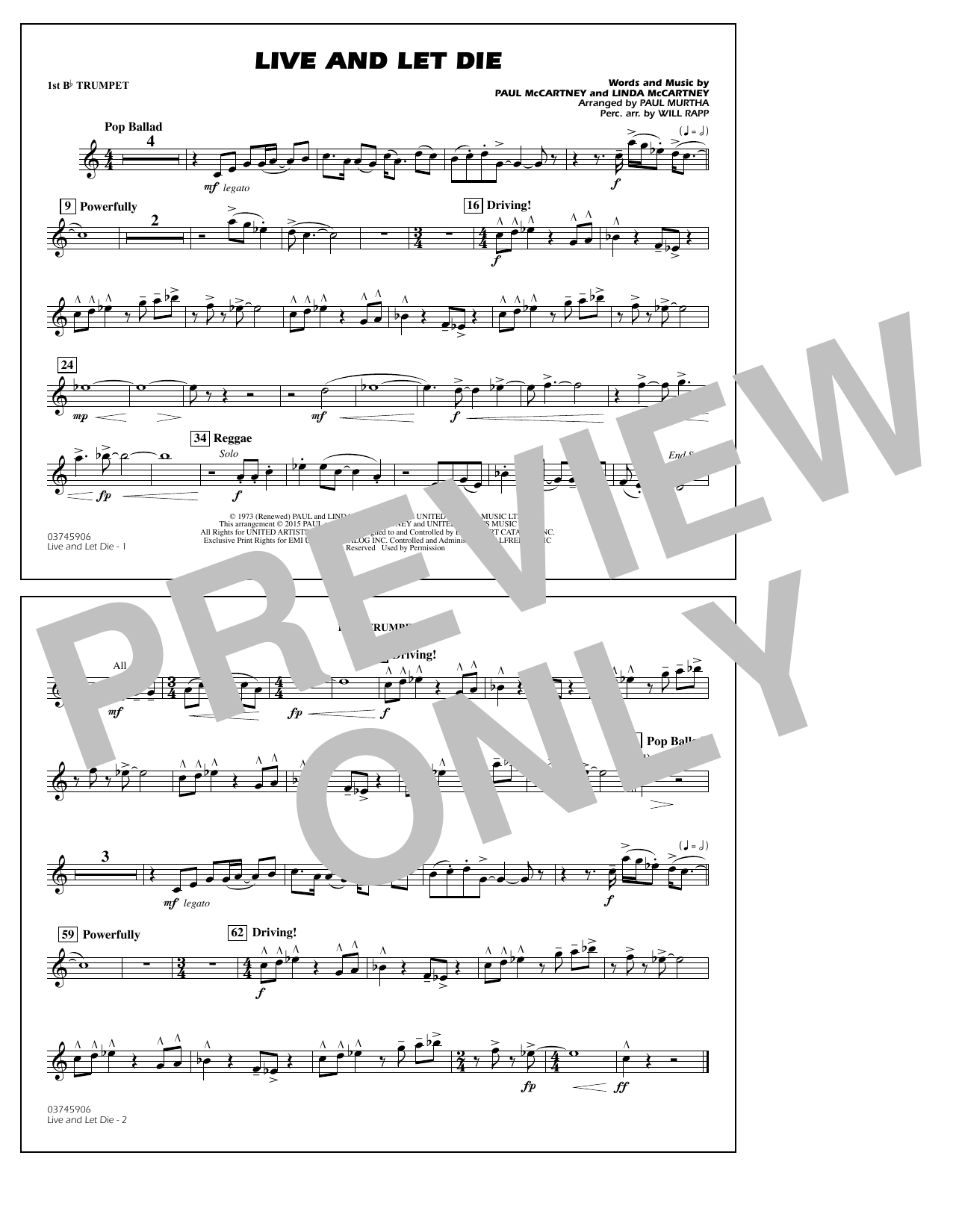 Live and Let Die - 1st Bb Trumpet (Marching Band)