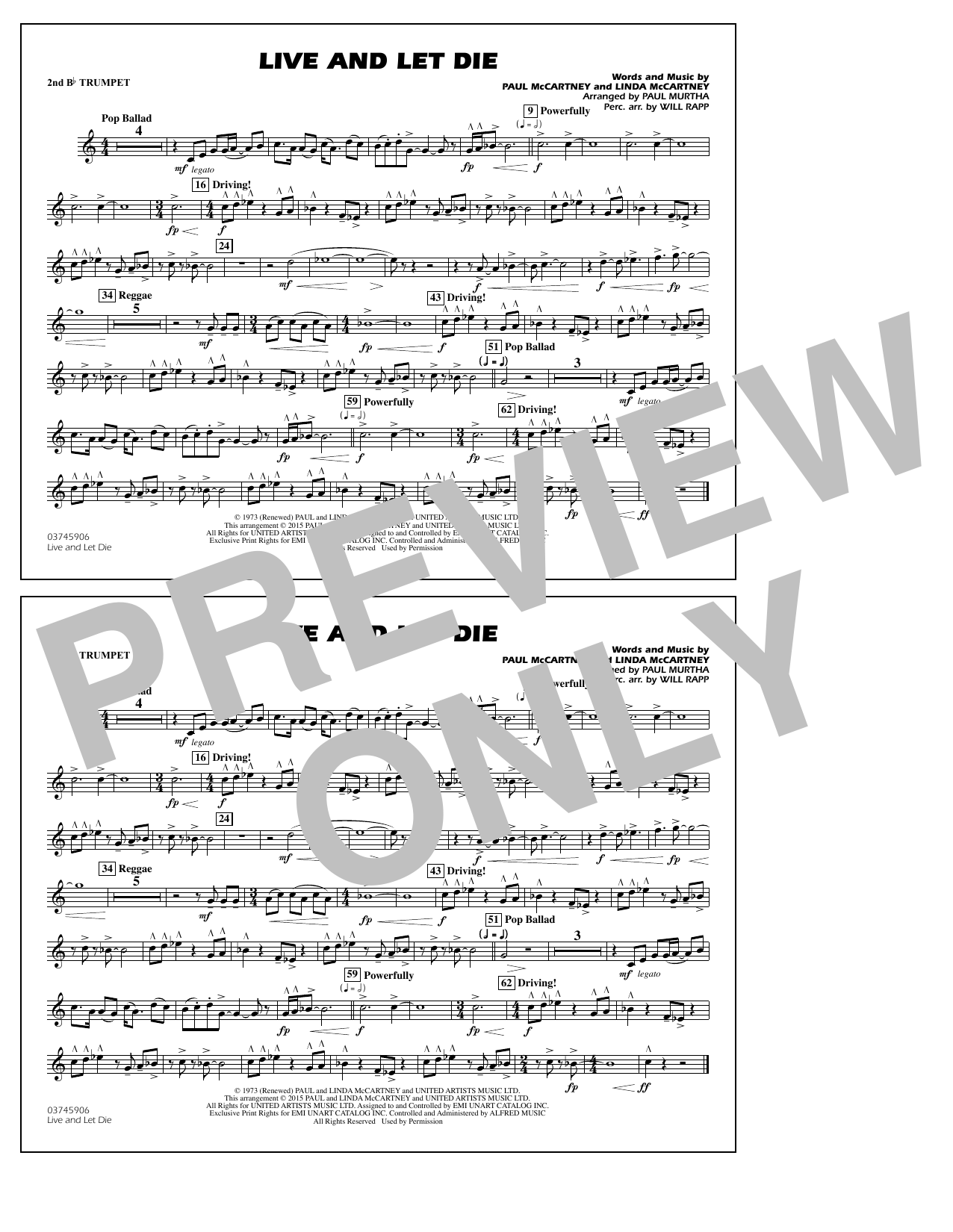 Live and Let Die - 2nd Bb Trumpet (Marching Band)
