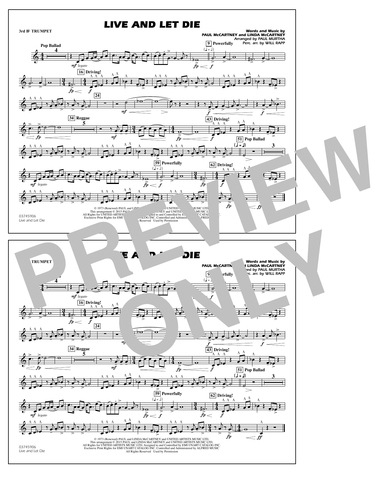 Live and Let Die - 3rd Bb Trumpet (Marching Band)