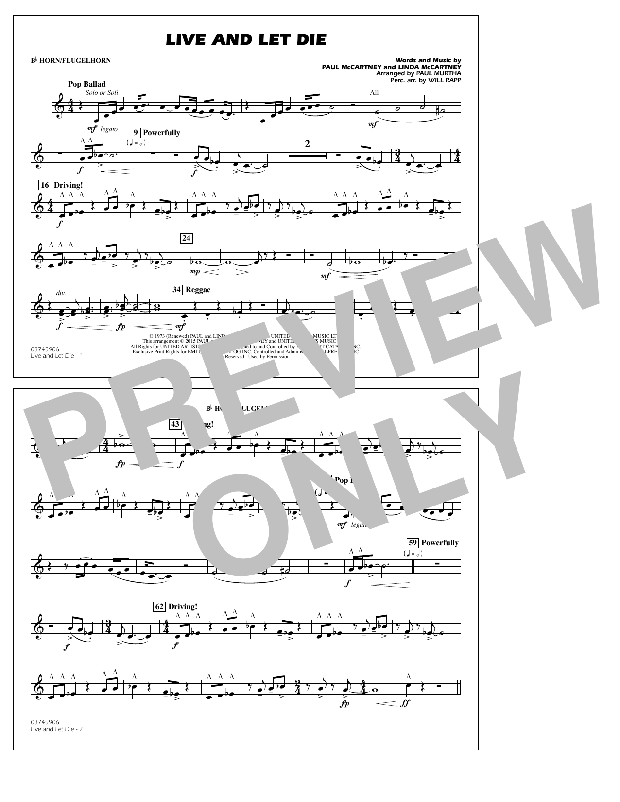 Live and Let Die - Bb Horn/Flugelhorn (Marching Band)